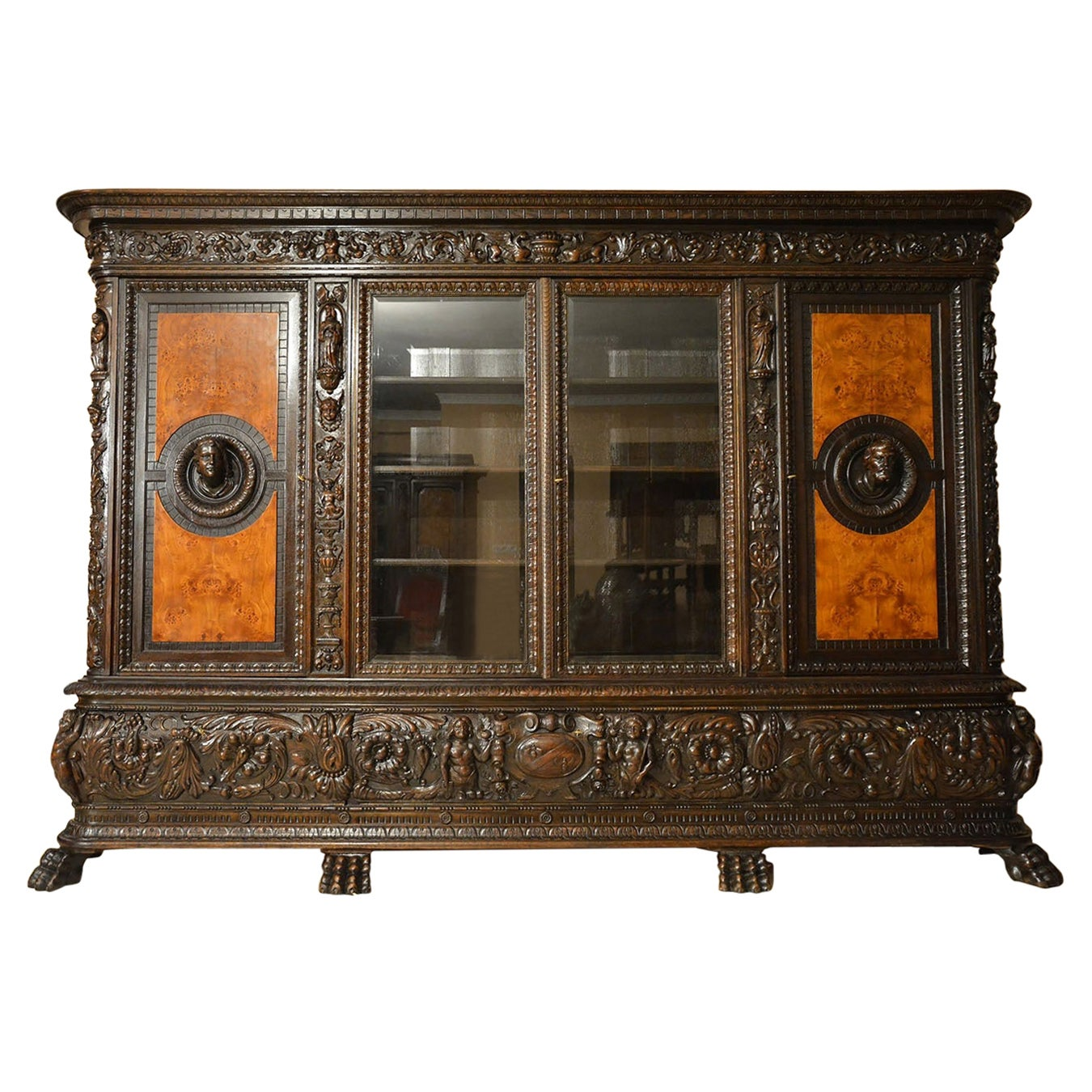 Renaissance Revival Style Oak Bookcase with Drink Bar Beginning of 20th Century