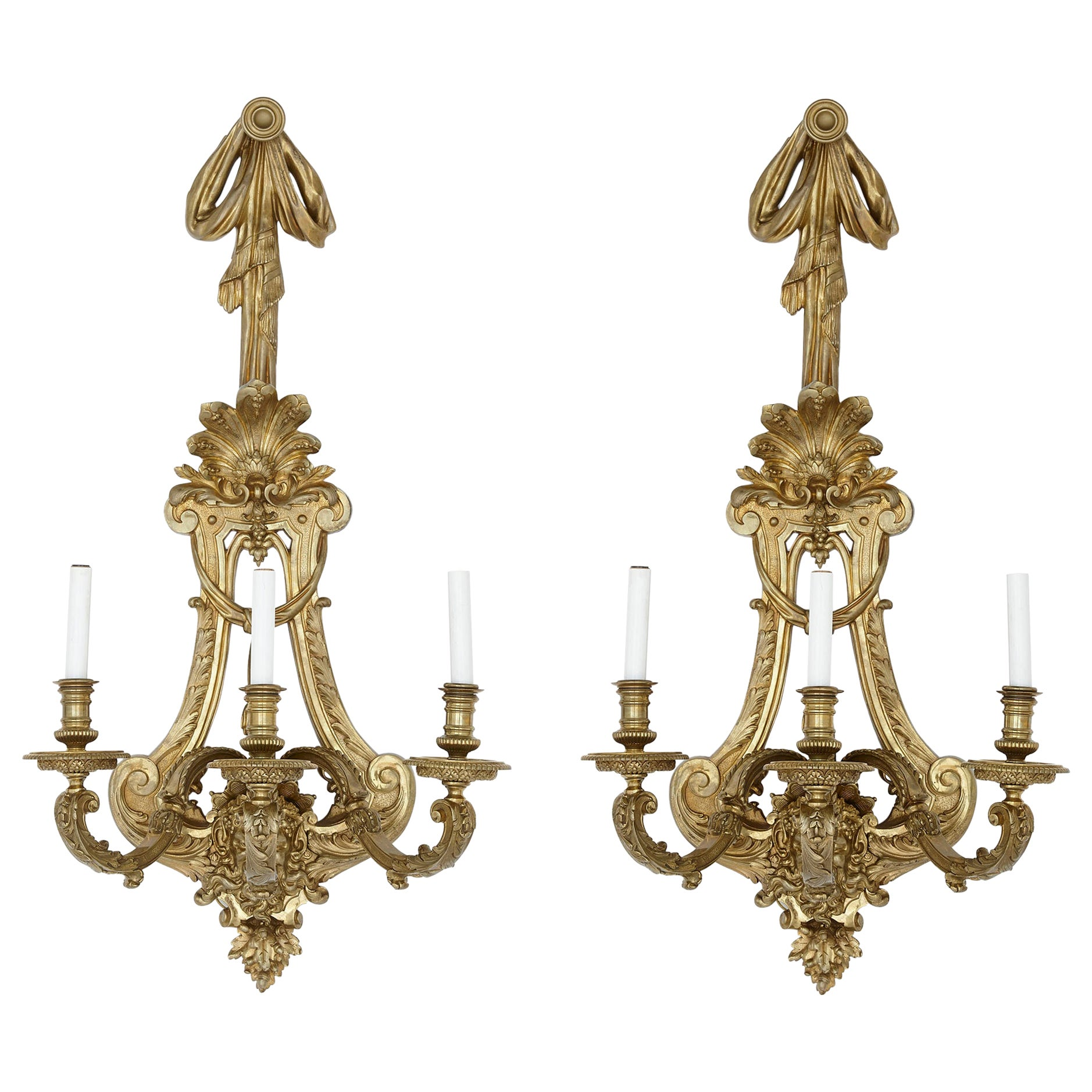 Two Large French Ormolu Three-Branch Wall Sconces by H. Vian