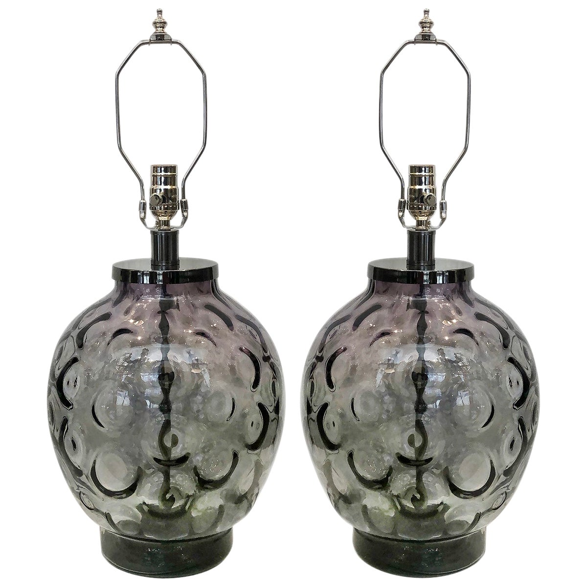 Pair of Midcentury Italian Glass Table Lamps