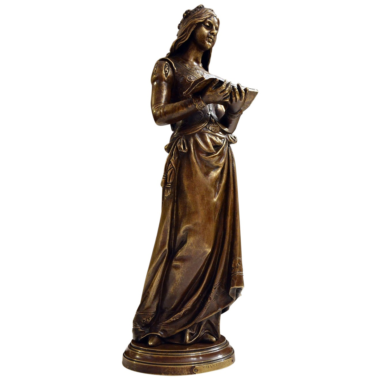 """Chant Divin"" by Marcel Debut 19th Century Bronze Sculpture"
