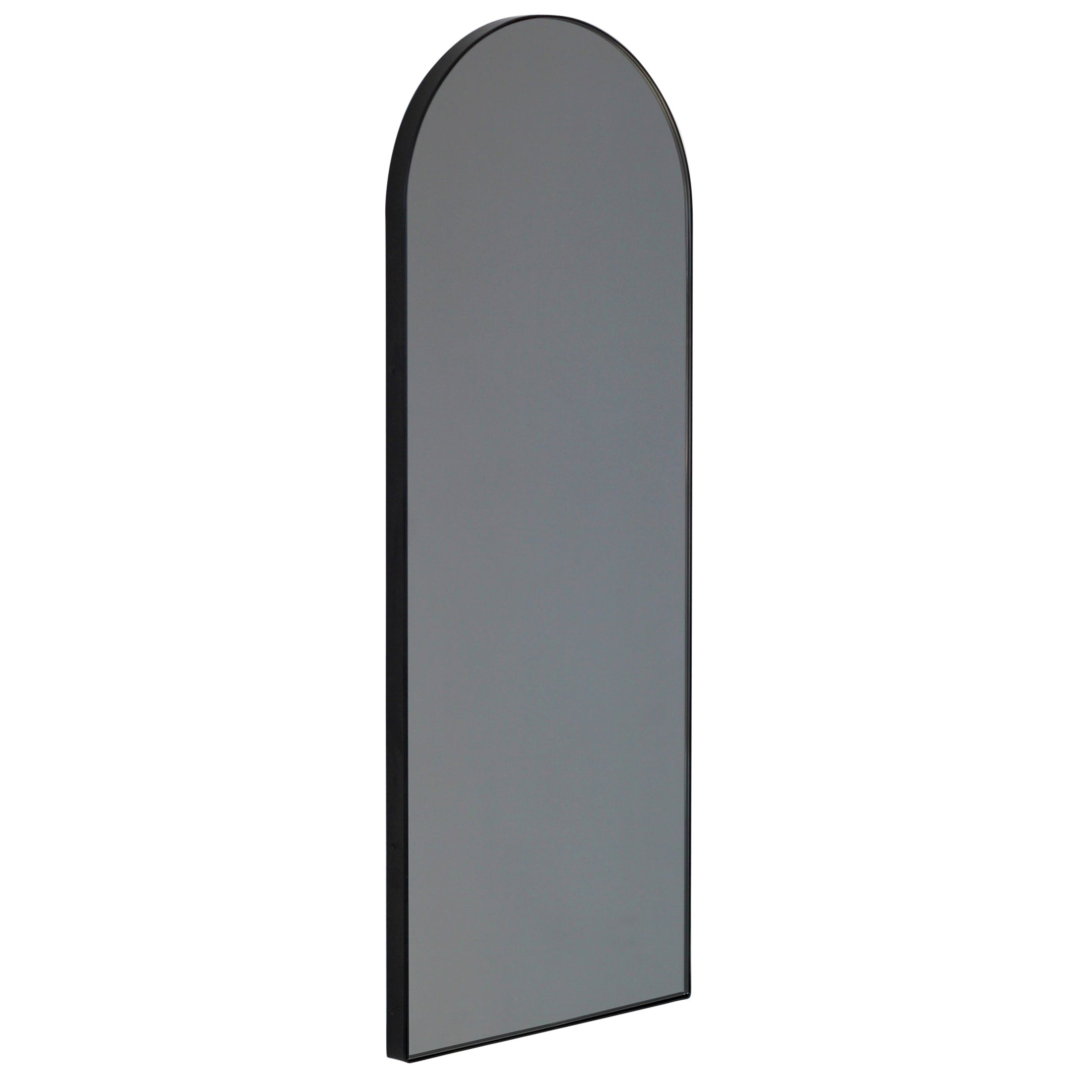 Arcus™ Arch shaped Black Tinted Art Deco Narrow Mirror with a Black Frame