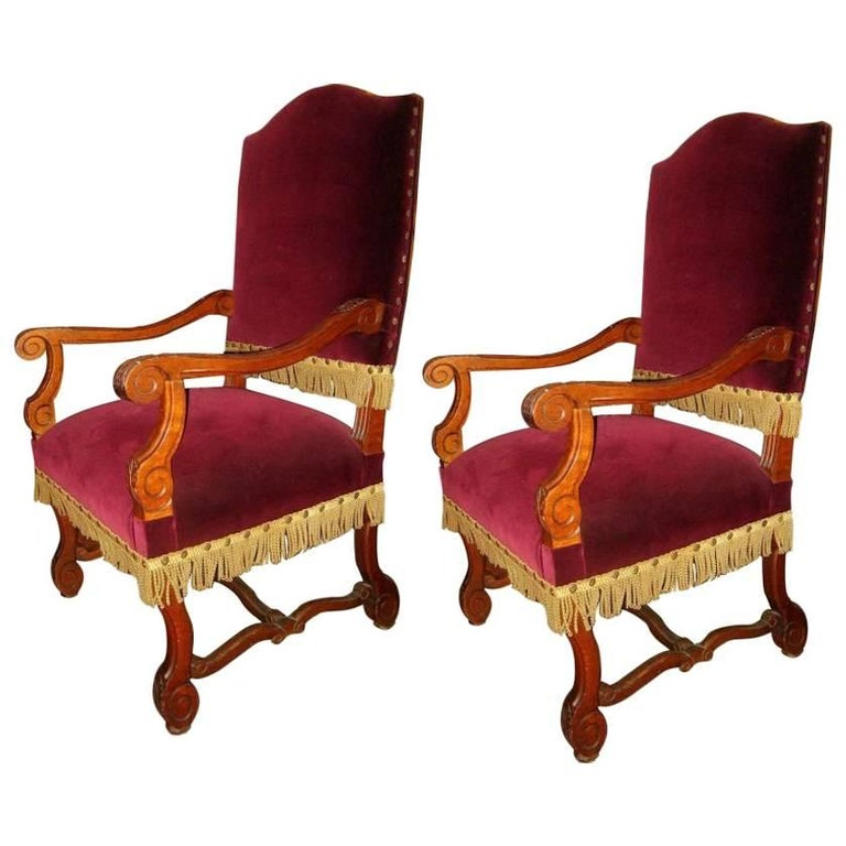 Pair of Large Armchairs For Sale