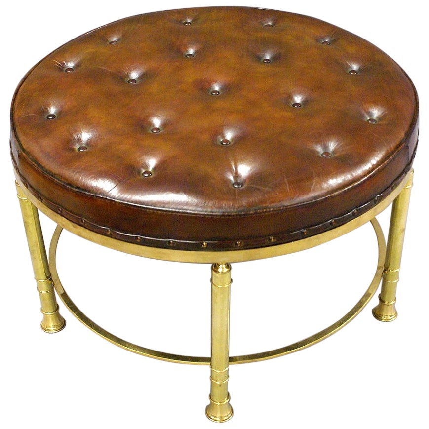 Early 20th Century Circular Leather Stool