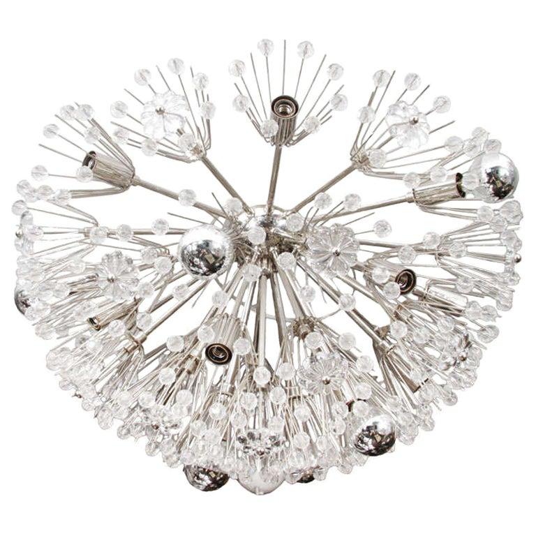 Custom Large Austrian Snowflake Crystal Flush Mount For Sale