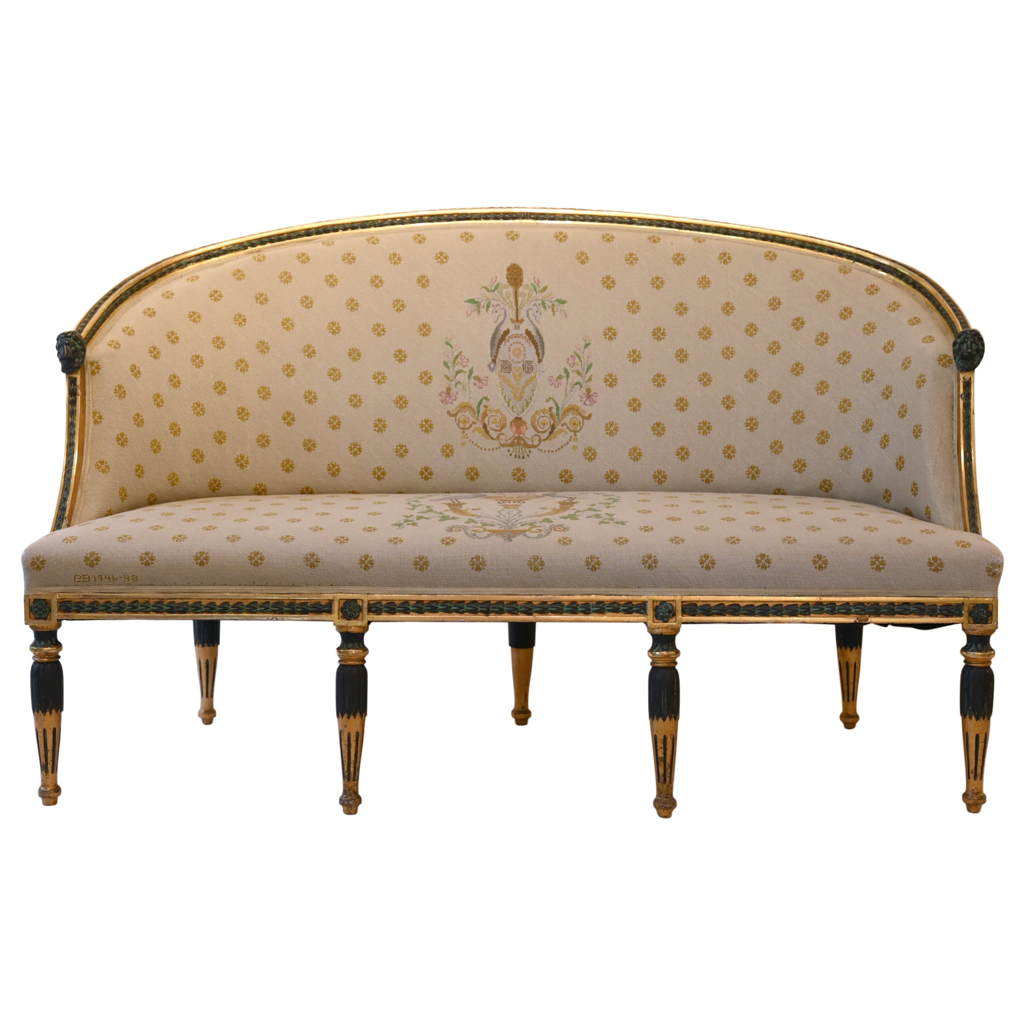 Swedish Late Gustavian Sofa by Ephraim Stahl Stockholm circa 1800 Gilded