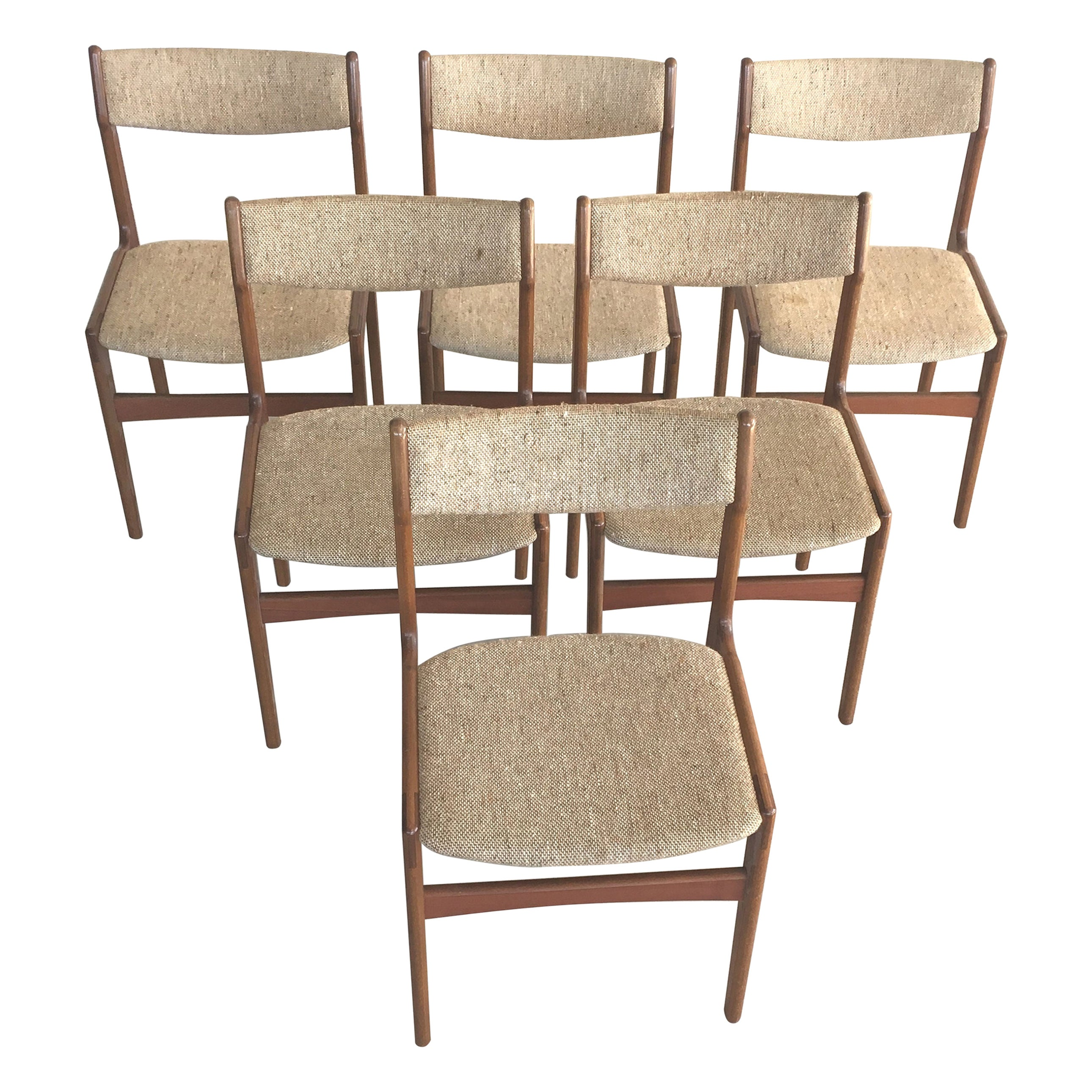1960s Erik Buch Set of Six Danish Teak Dining Chairs Inc. Reupholstery