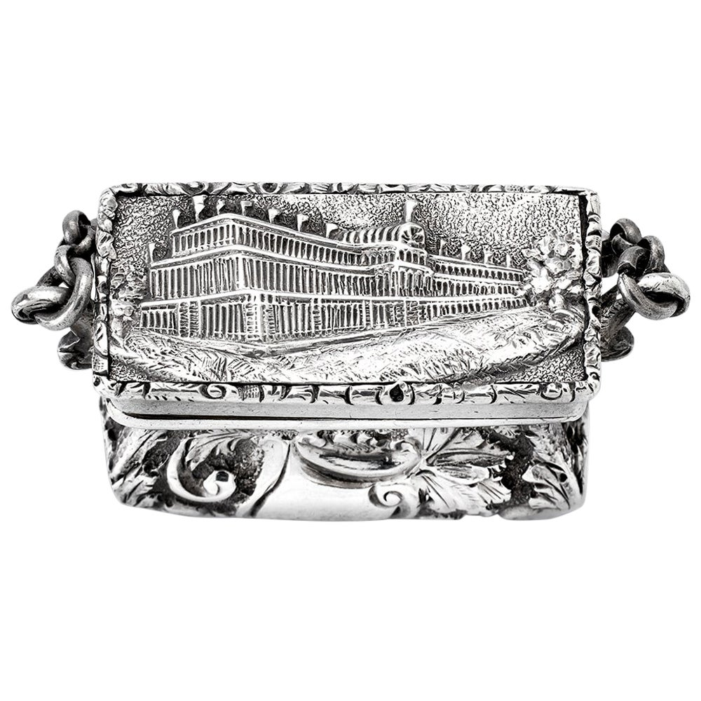 Antique Victorian Sterling Silver Castle-Top Vinaigrette Crystal Palace