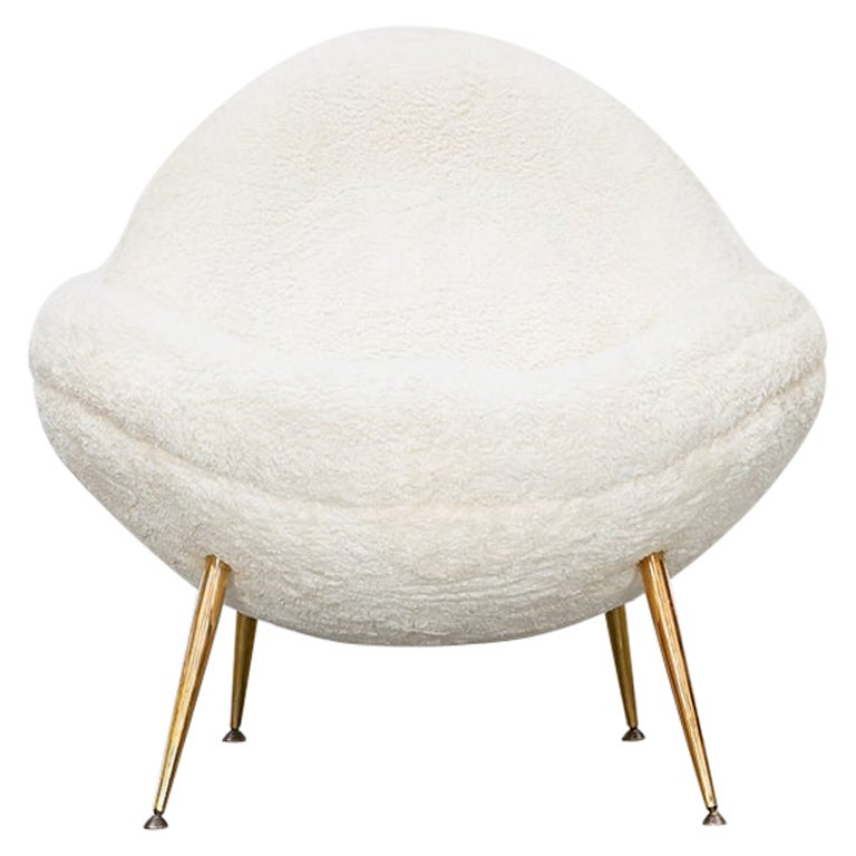 1950s White Faux Fur on Brass Legs Single Lounge Chair by Fritz Neth 'b'