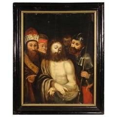 18th Century Oil on Oak Panel Italian Religious Painting, 1780