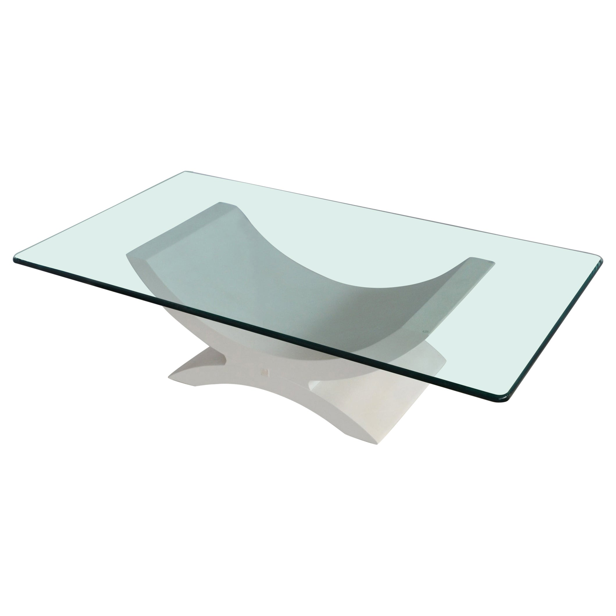Rectangular Coffee Table Crystal Top Wood Base White Ecological Shagreen Details
