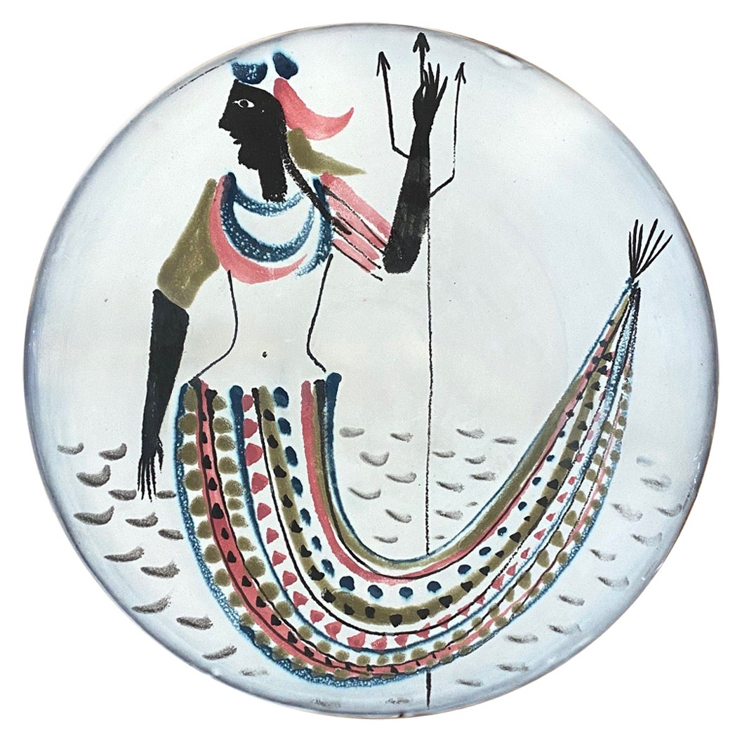 Roger Capron Large Ceramic Dish with Stylized Mermaid, Vallauris, 1950s