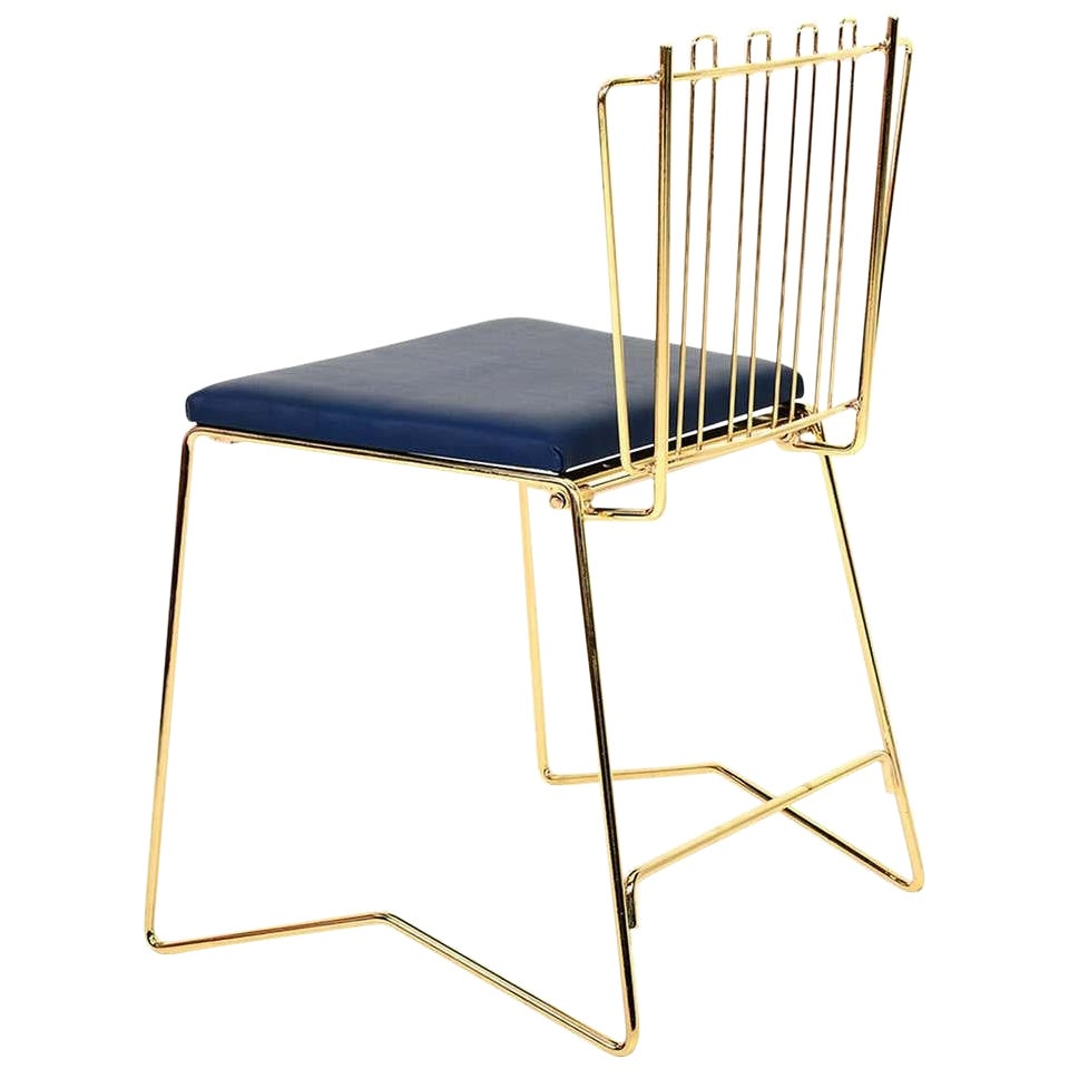 PR03 Stacking Fancy Folding Chair Brass Finish Faux Leather Blue
