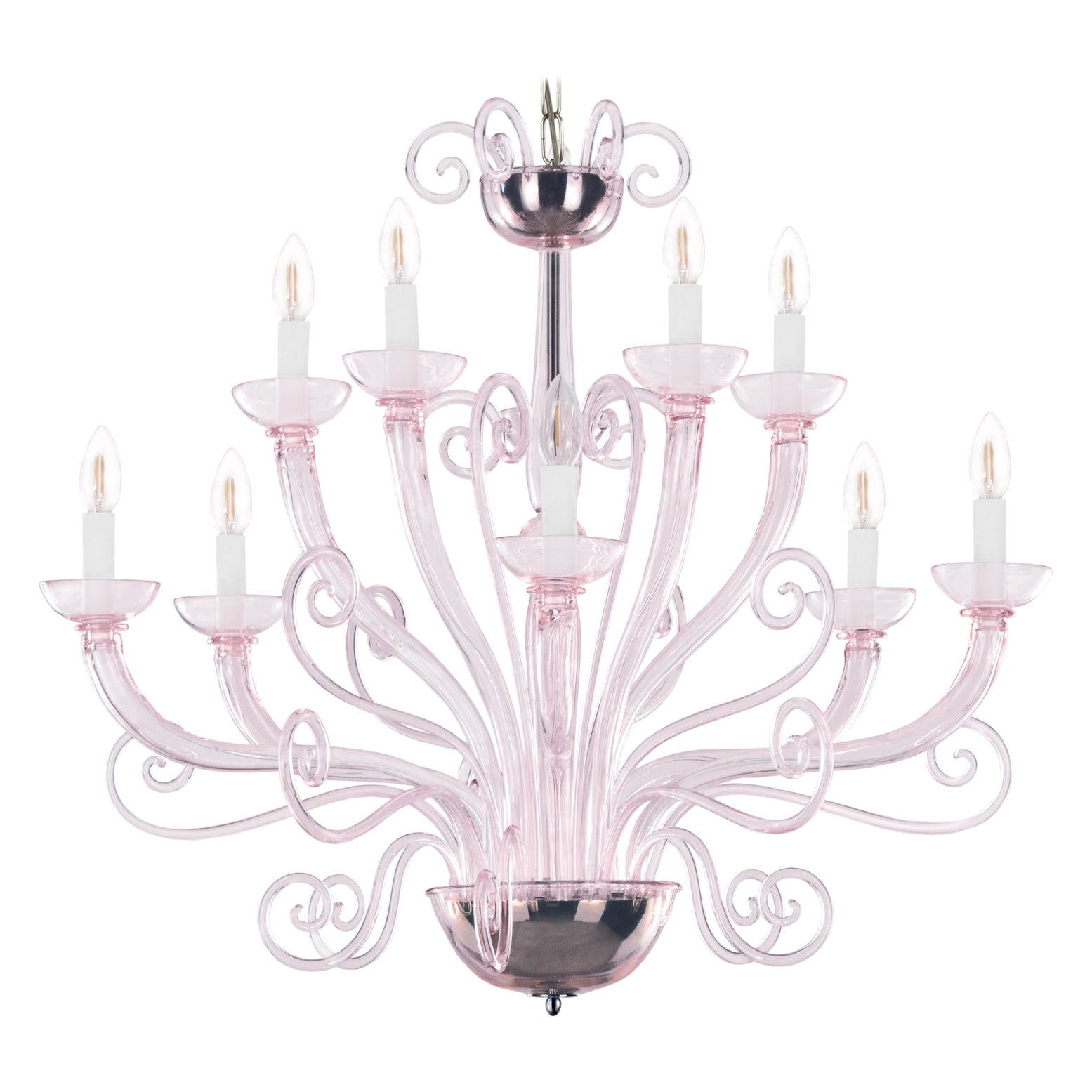 21st Century Venetian Chandelier 10 Arms Light Pink Murano Glass by Multiforme