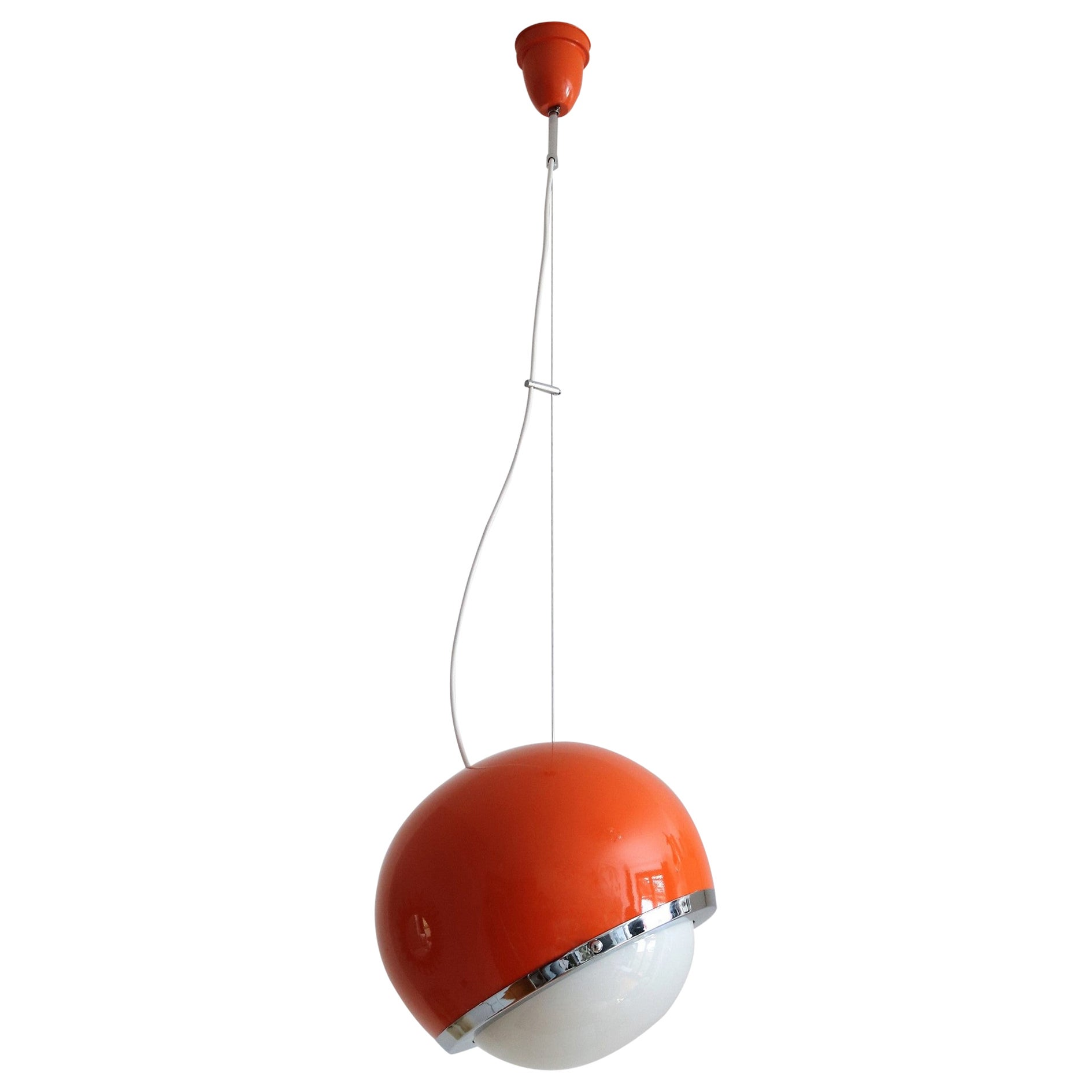 Italian Vintage Pendant Lamp from the Space Age in Glass and Aluminium, 1960s