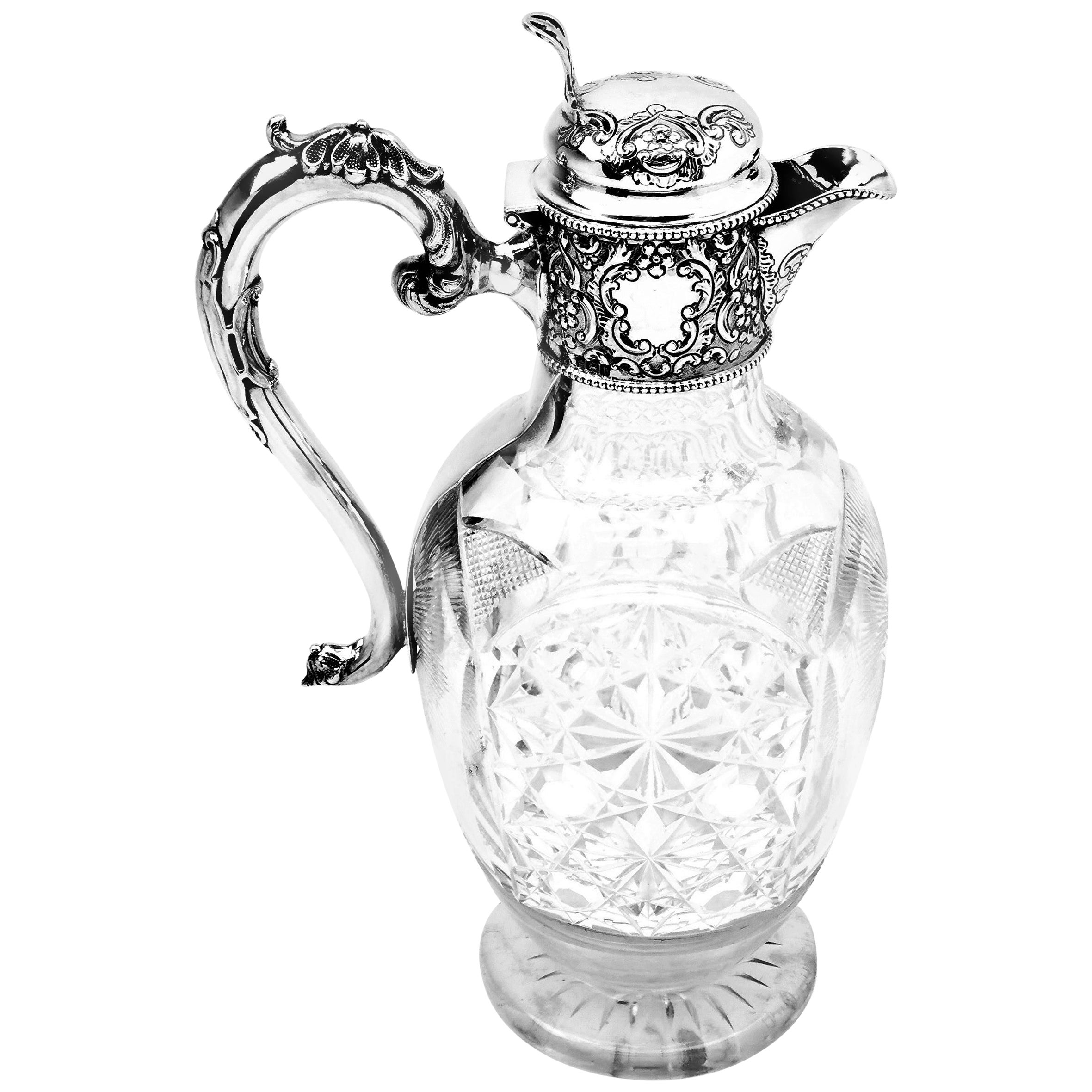Antique Solid Silver & Cut Glass Claret Jug Wine Decanter, 1909