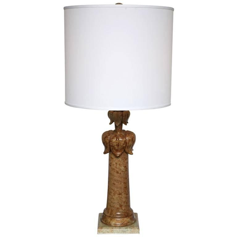 Alabaster Table Lamp Stunning Carved Elegant Dark beche, Finial Alabaster Also For Sale