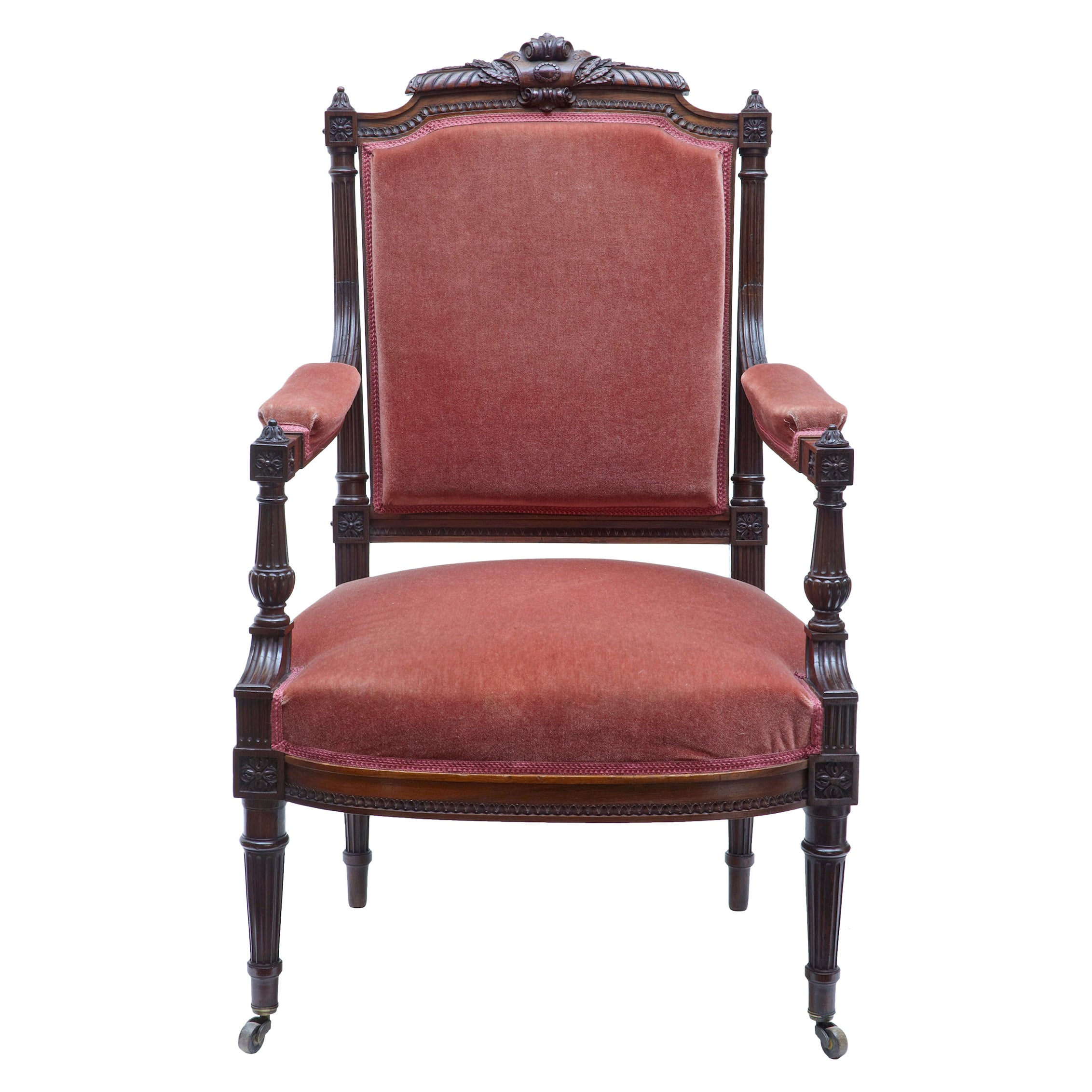 19th Century French Carved Palisander Armchair