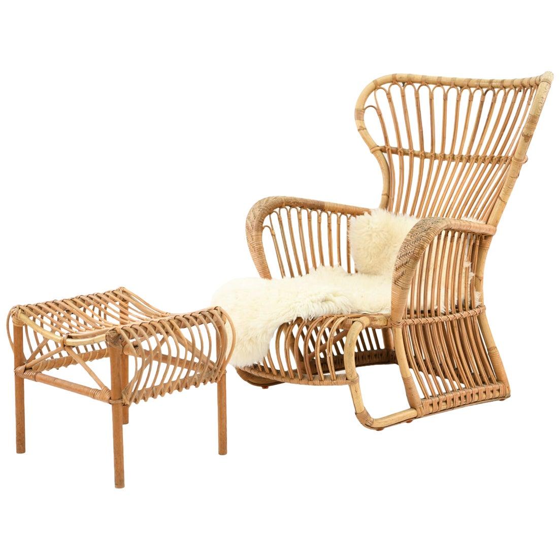 Danish Midcentury Wengler Lounge Chair and Ottoman