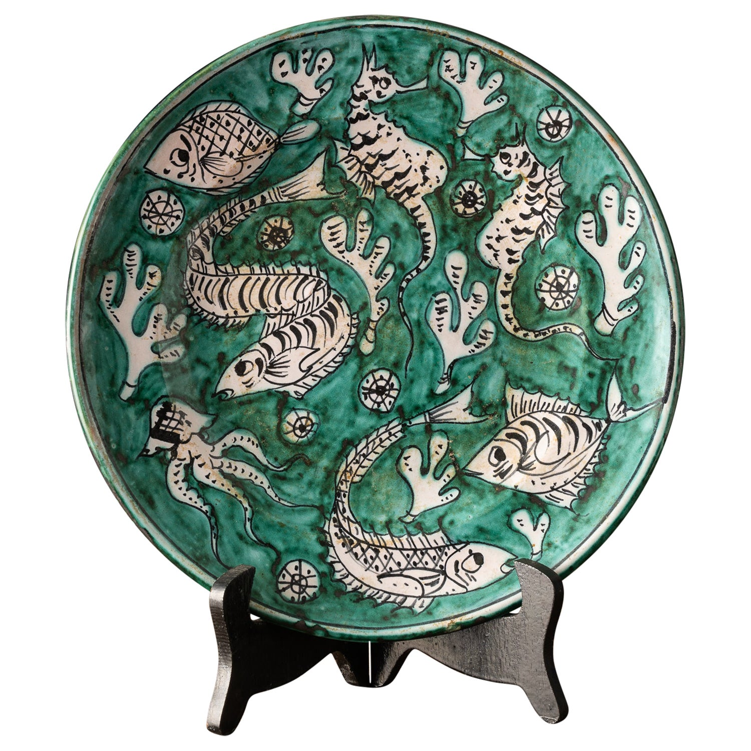 Beautiful Hand Painted Pottery Display Plate from Amalfi, Italy