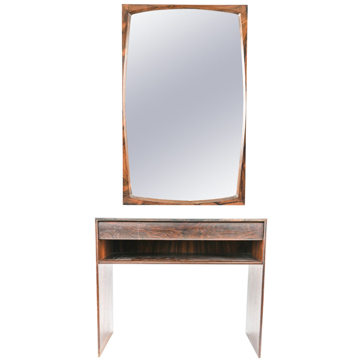 Danish Midcentury Rosewood Chest and Mirror