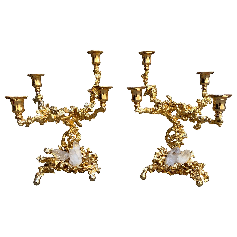 Claude Boeltz Pair of 24-Karat Gold Plated Bronze Quadruple Candlesticks, France