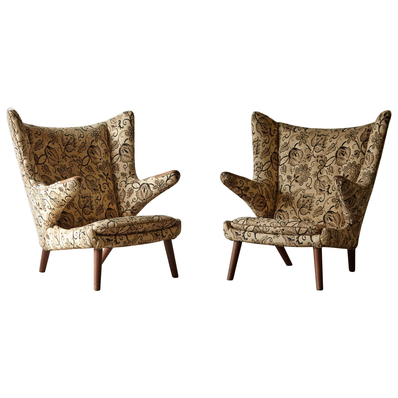 Hans Wegner Papa Bear Chairs, AP Stolen, Denmark, 1950s for Re-Upholstery, Pair