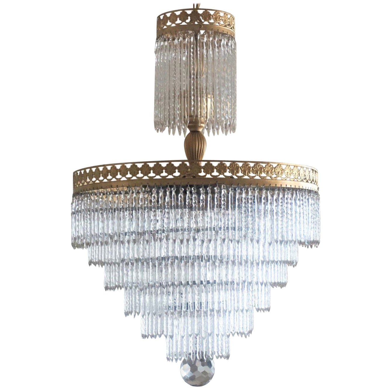 Midcentury Italian Murano Crystal Waterfall Seven-Light Chandelier