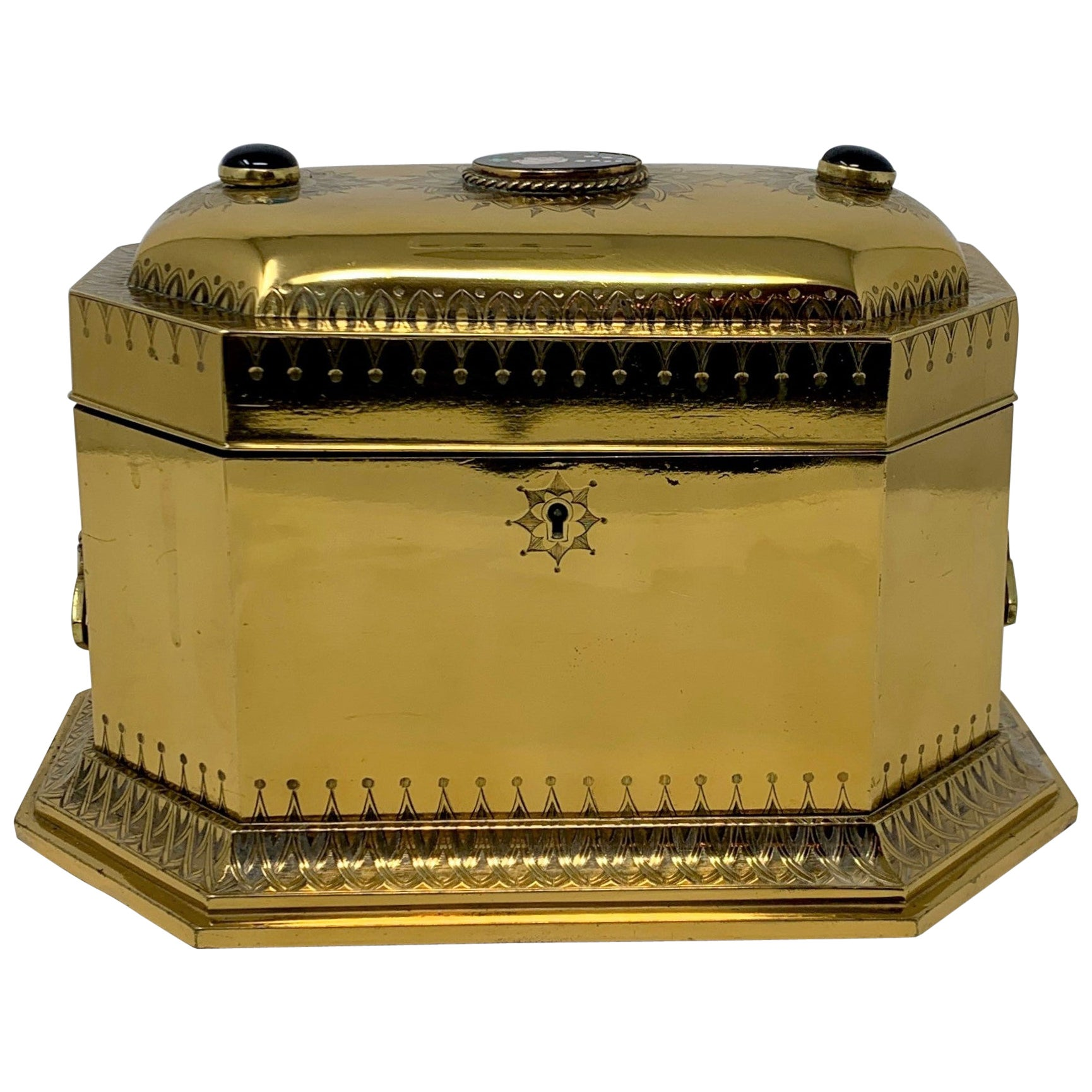 Antique French Polished Bronze Jewel Box, circa 1880