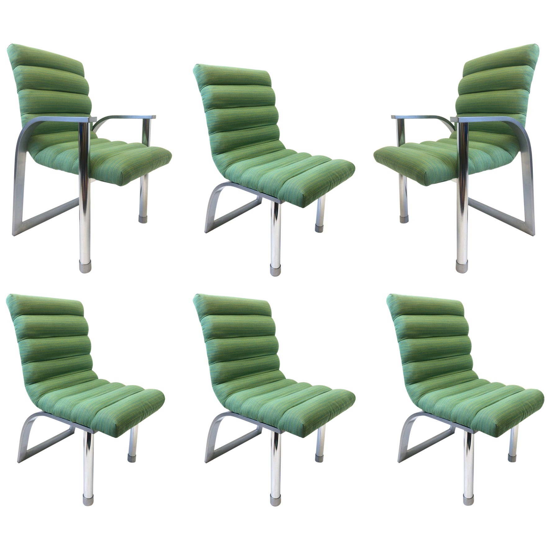 Set of Six Stainless Steel and Green Fabric Dining Chairs by Jay Spectre