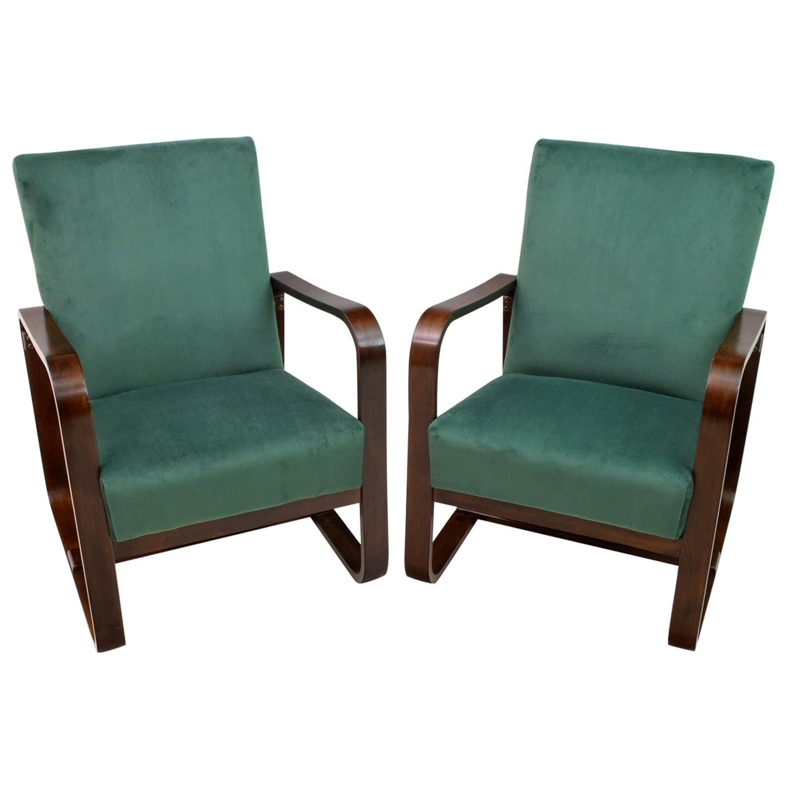 Pair of Rare Giuseppe Pagano & Gino Maggioni Bentwood Armchairs, 1940s