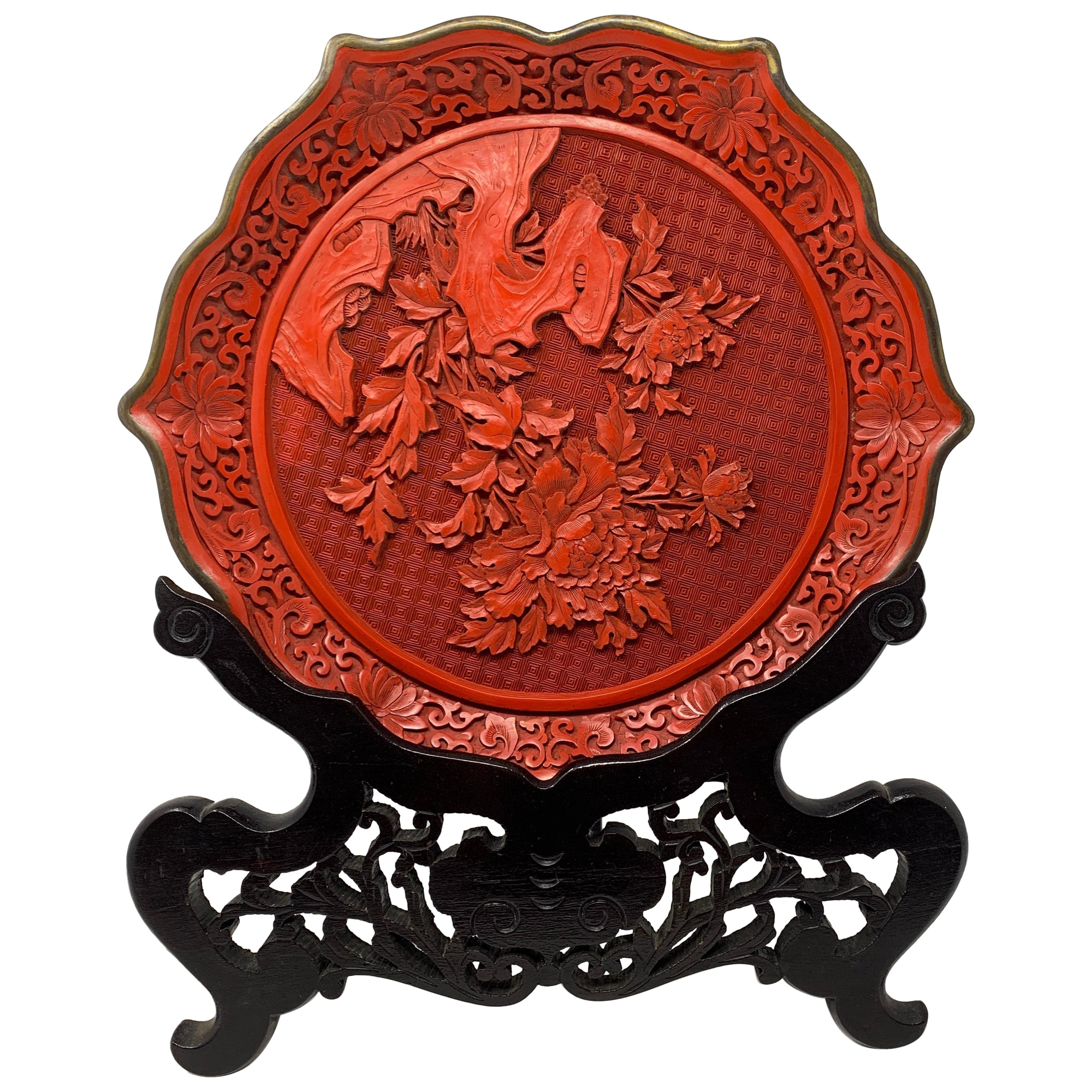 Antique Chinese Cinnabar Rare Red Lacquer Carved in Relief, circa 1890-1910