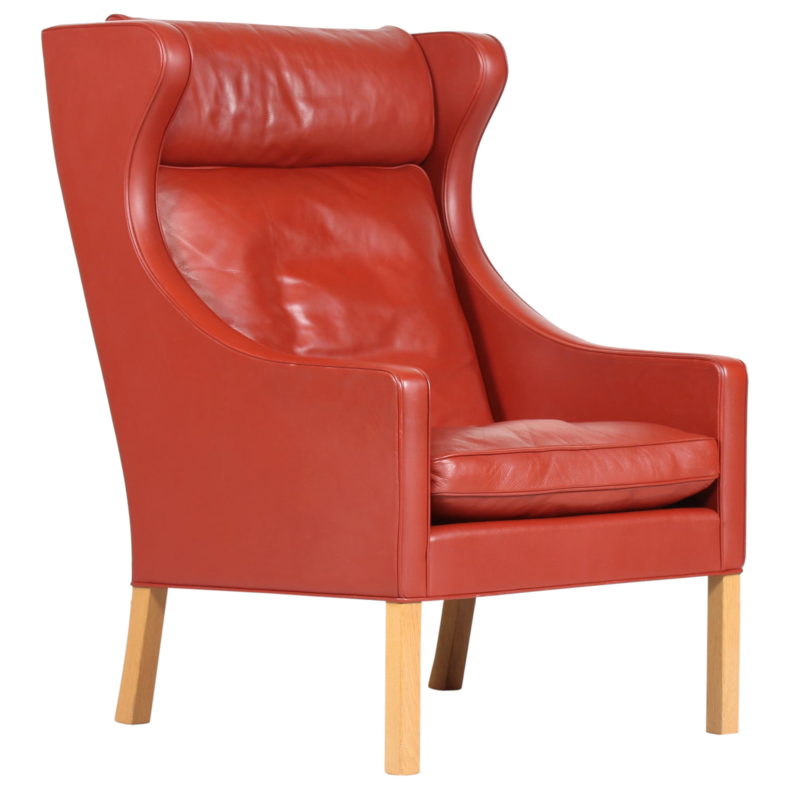 Red Leather Wingback Chairs 5 For Sale On 1stdibs