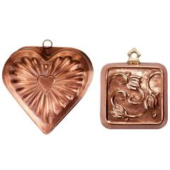 Antique Copper Heart and Flower Molds