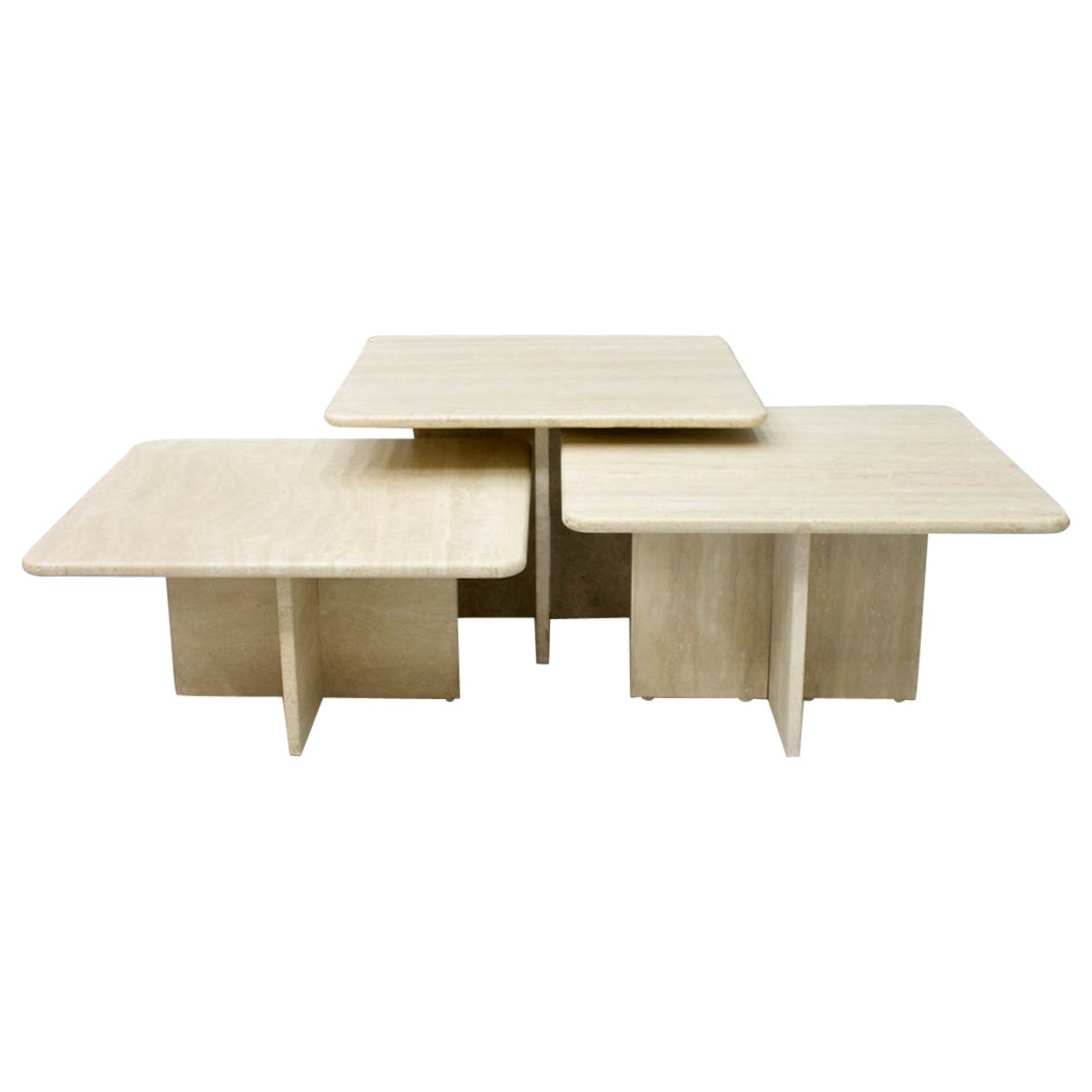 Set of Three Travertine Side or Coffee Tables, Italy, 1970s II