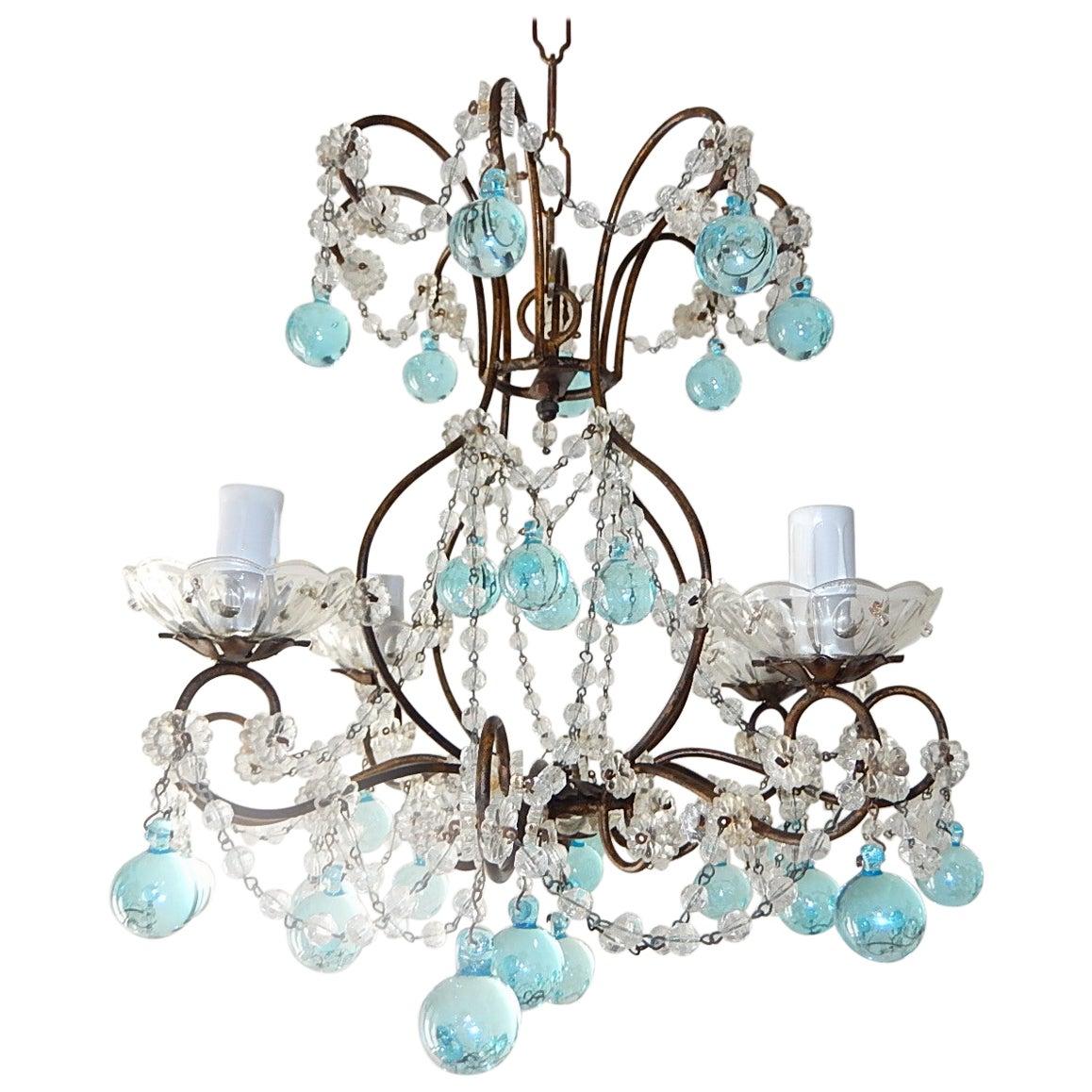 Italian Florentine Crystal Swags Aqua Blue Murano Drops Chandelier