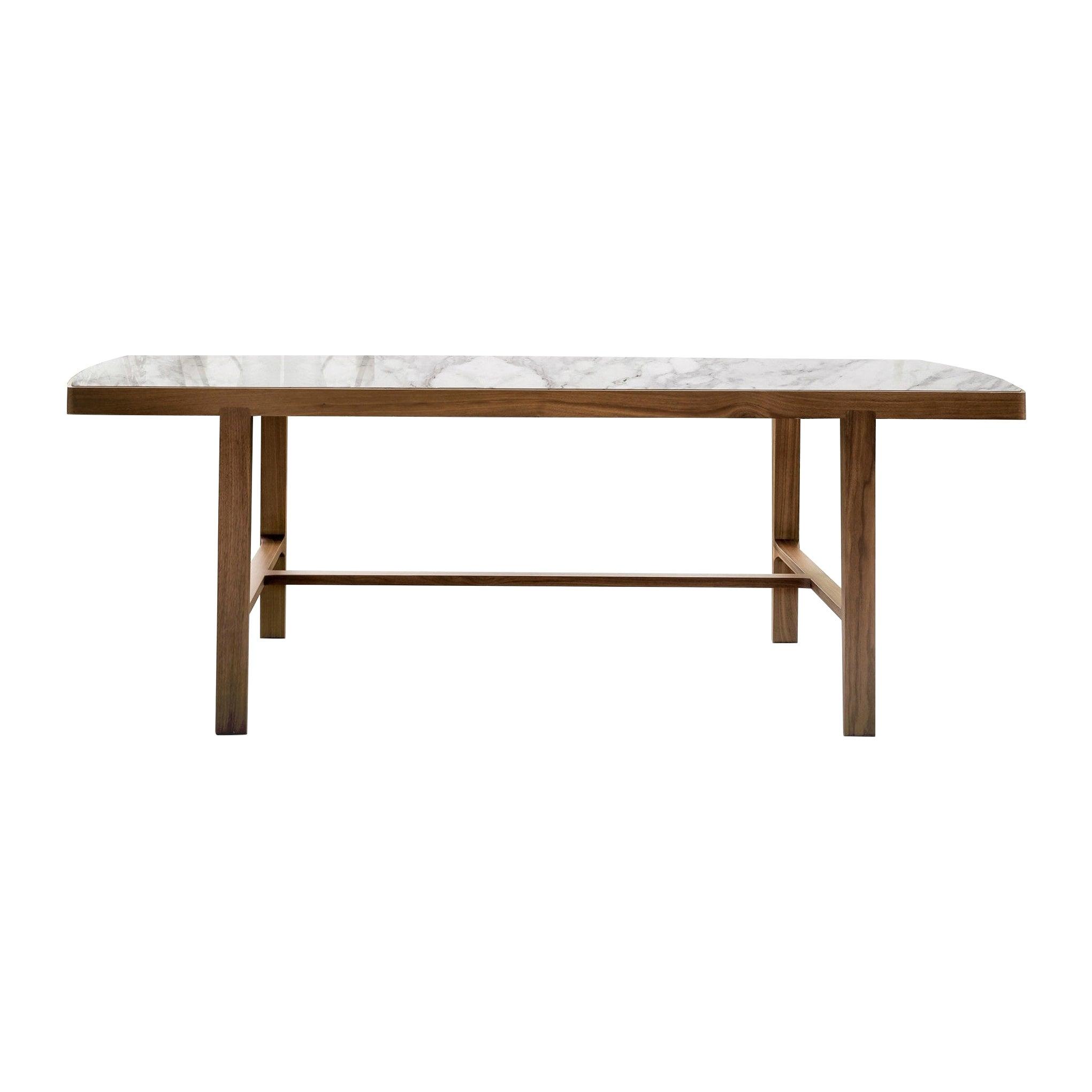 Handcrafted Italian Dining Table, Walnut Frame/White Marble