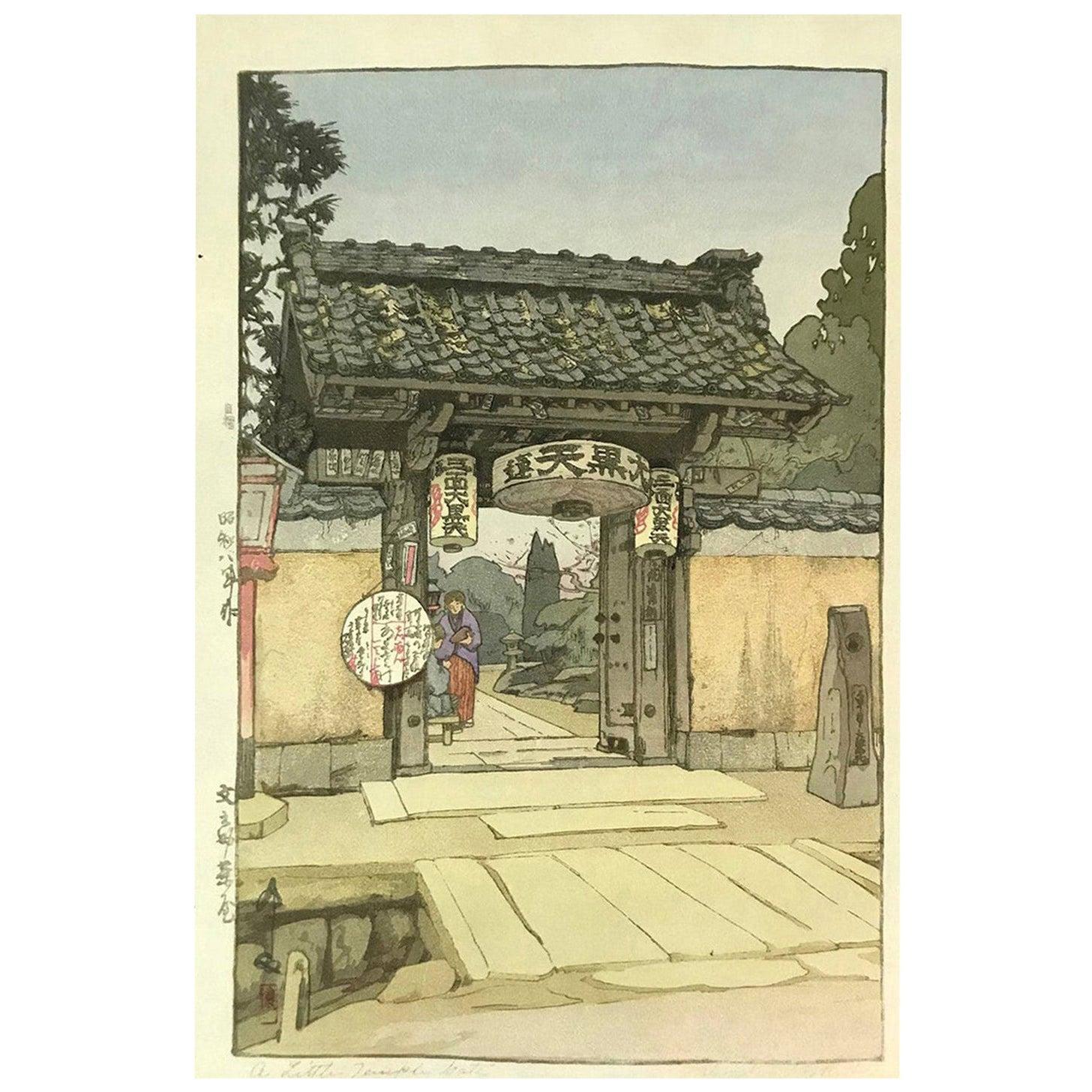 Hiroshi Yoshida Lifetime Japanese Print a Little Temple Gate Jizuri Seal, 1933