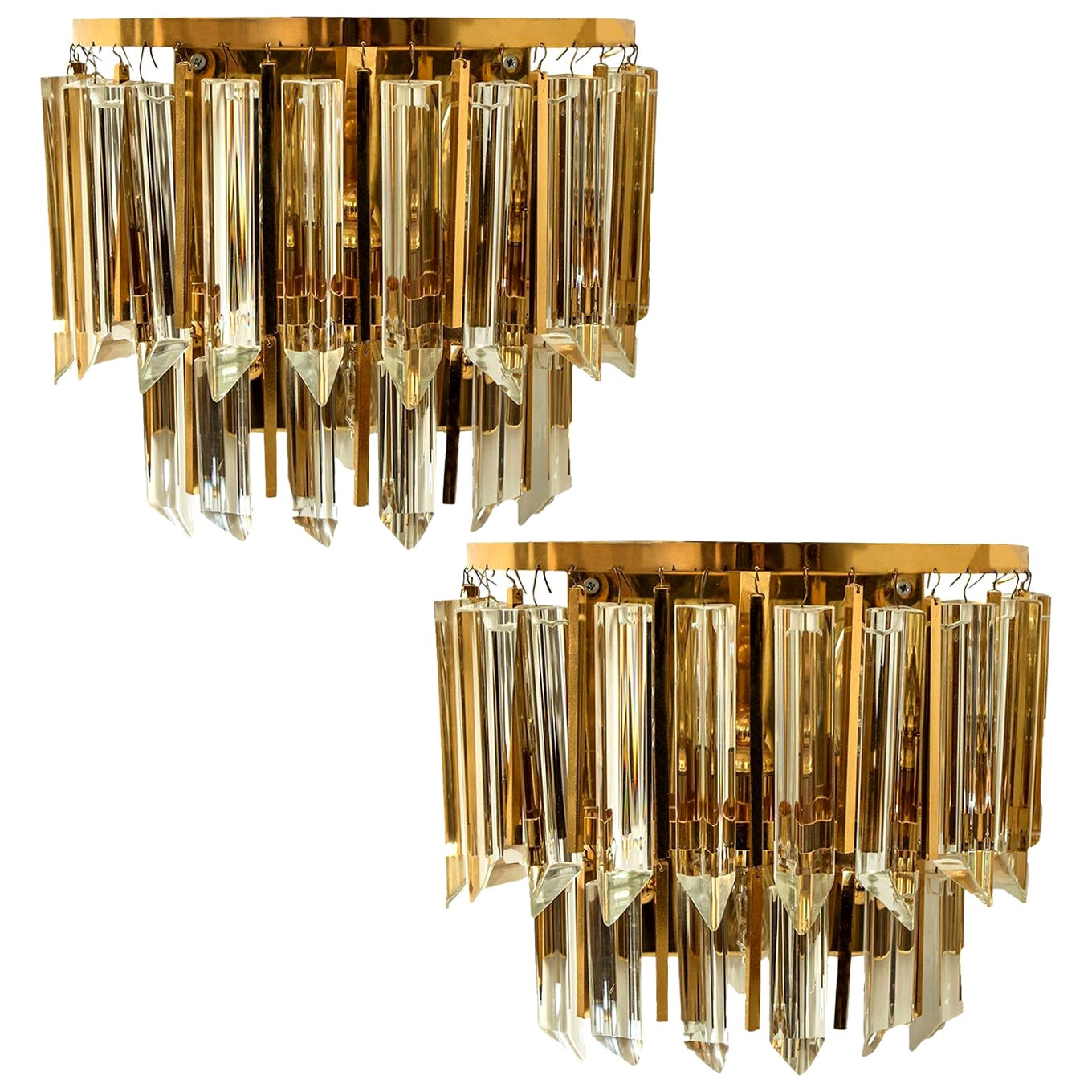 Pair of Palwa Murano Glass and Brass Sconces, Austria, 1960