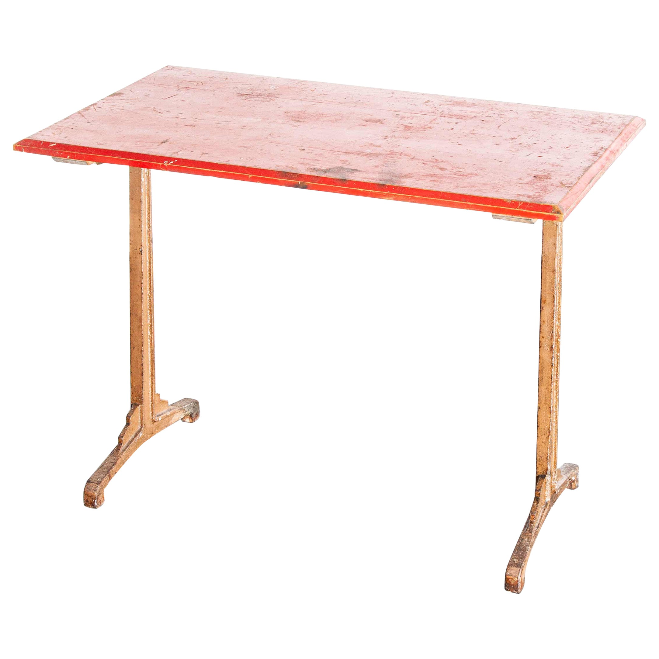 1930s French Bistro Dining Table, Red Top 2