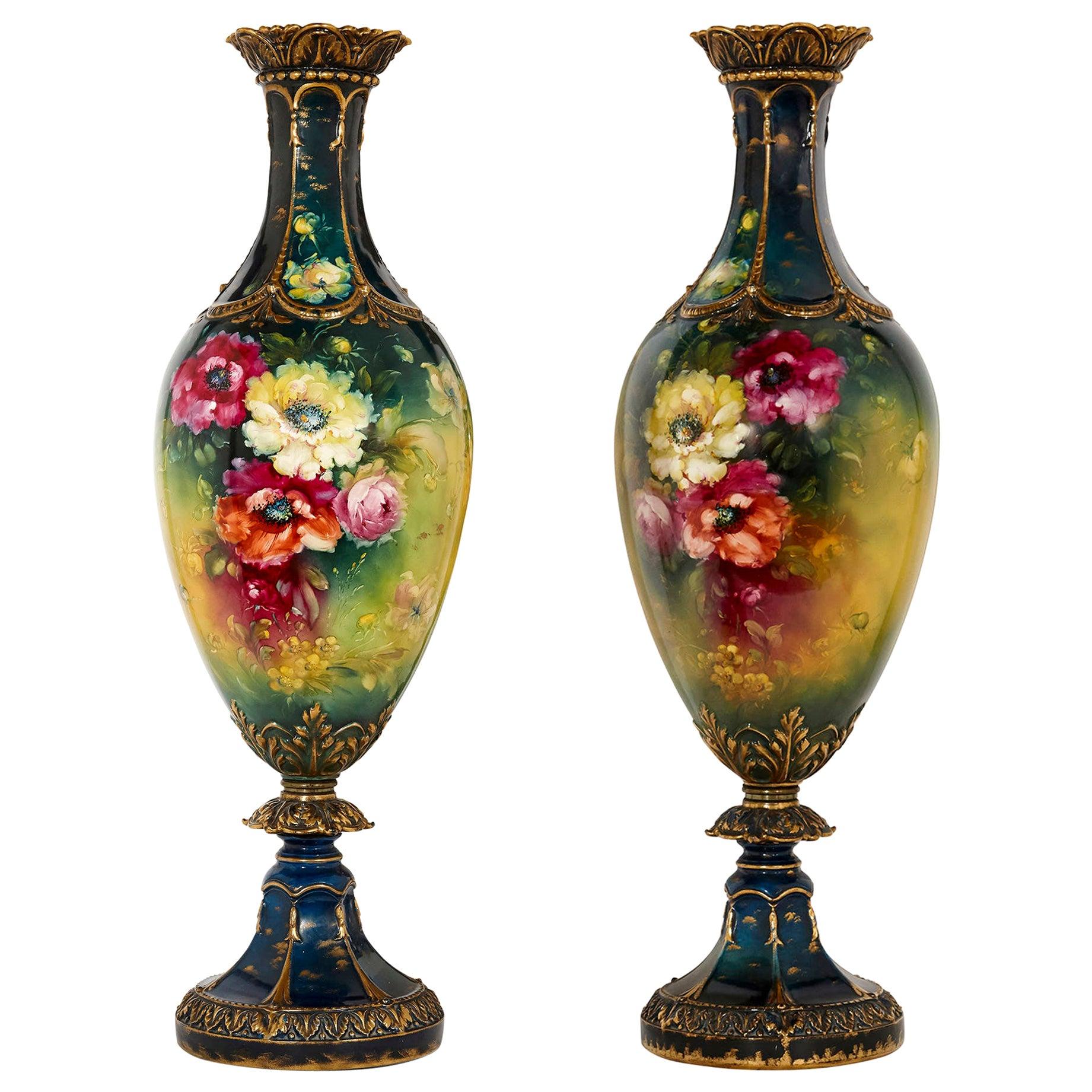 Very Large Pair of Porcelain Vases by Royal Bonn, Germany
