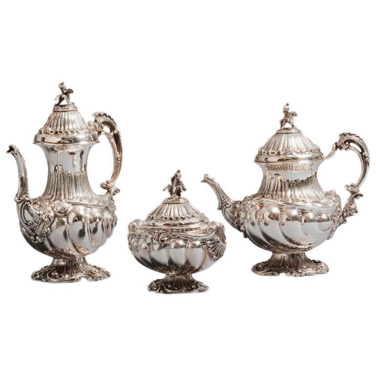 Rococo Style Tea Set, Sterling Silver 3 Pieces Set, Made in Italy