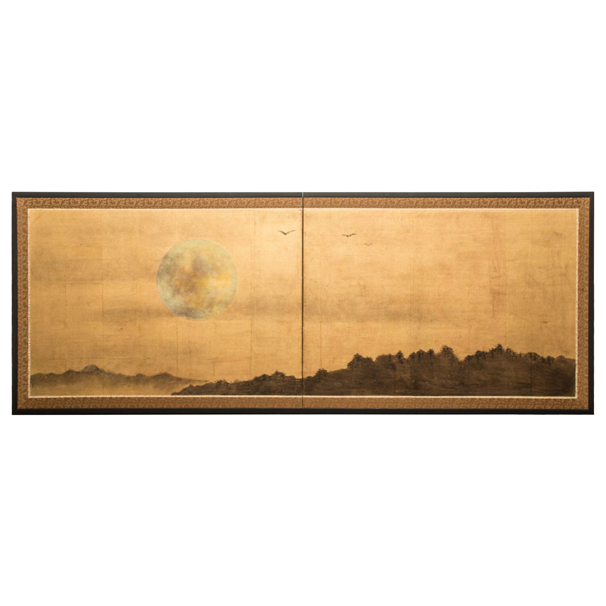 Japanese Two Panel Screen Rising Moon Over Minimal Landscape