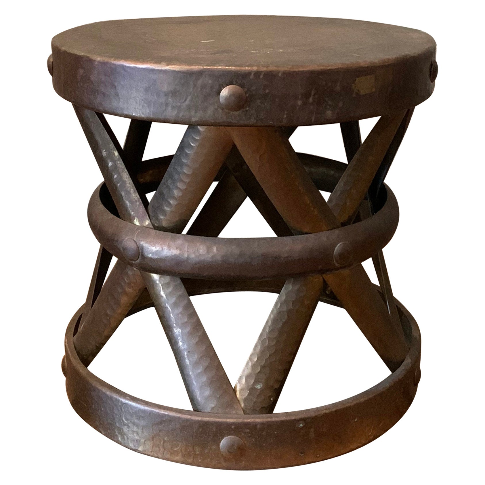 Hollywood Regency Brass Drum Stool Side Table by Sarreid Ltd.