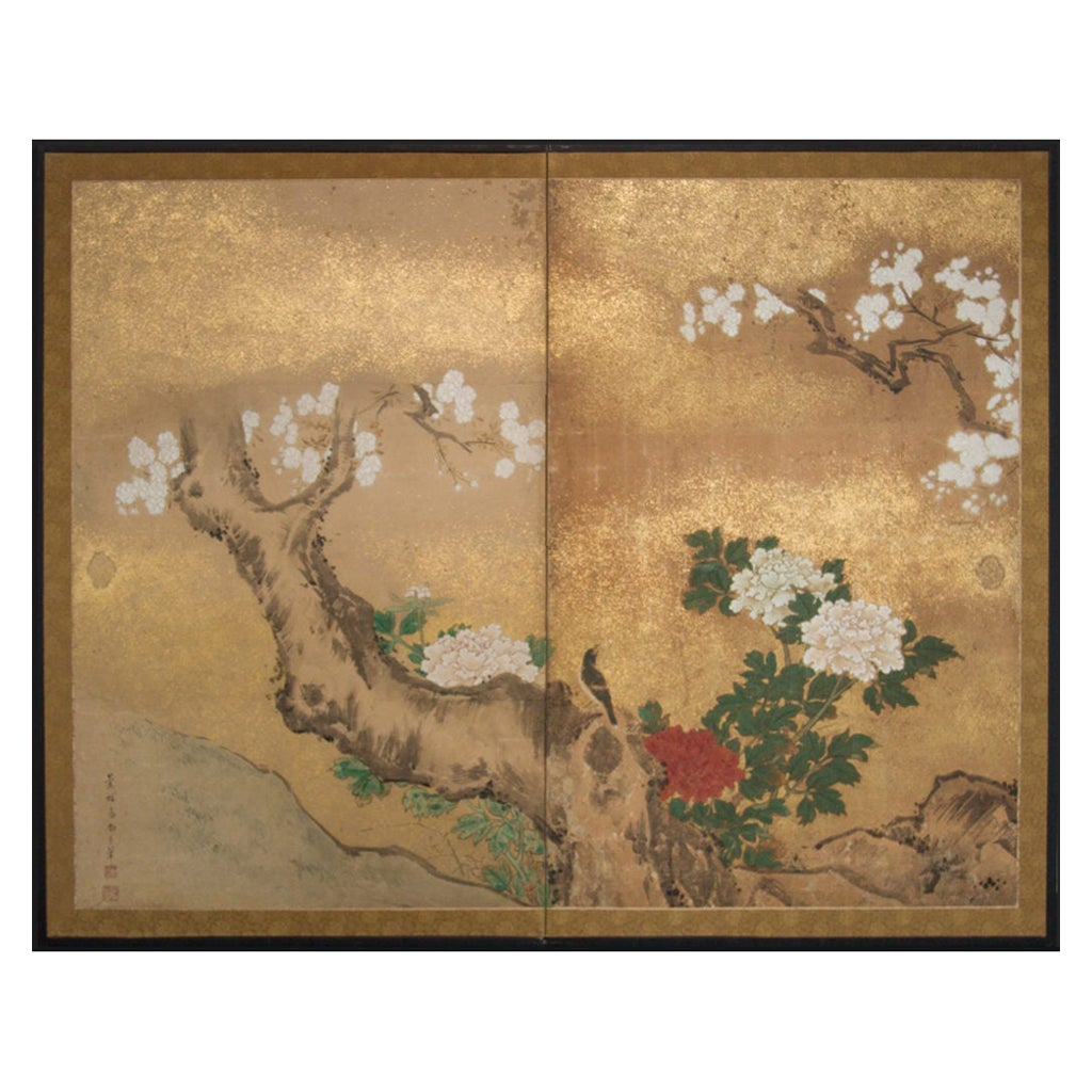 Japanese Two-Panel Screen Peony and Cherry