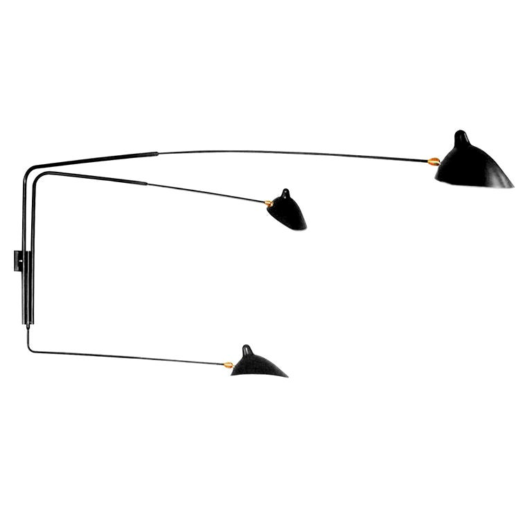 Wall Sconce 3 Rotating Arms by Serge Mouille in Black