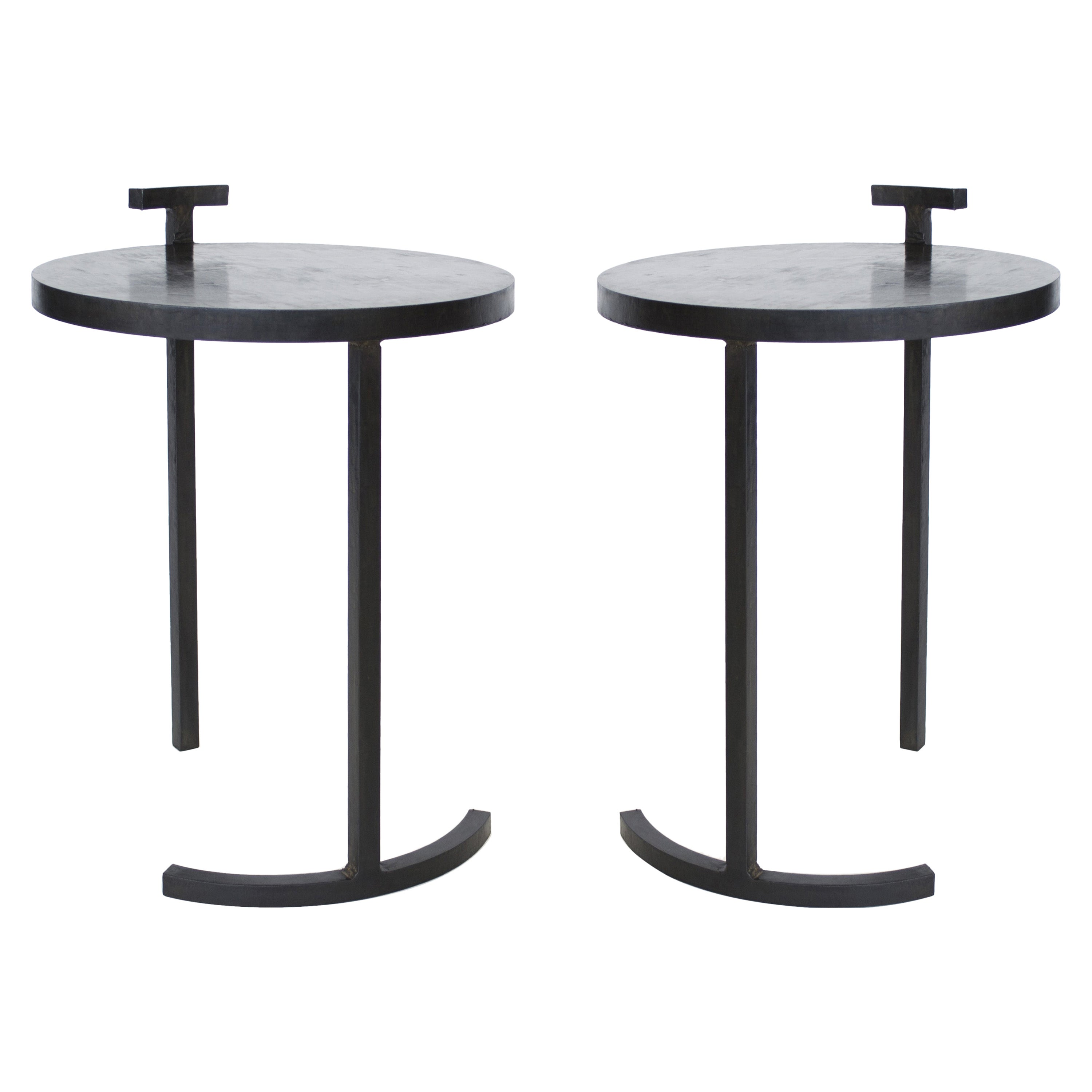 Pair of Modern Side Tables Minimalist Handmade in Cast Blackened and Waxed Steel