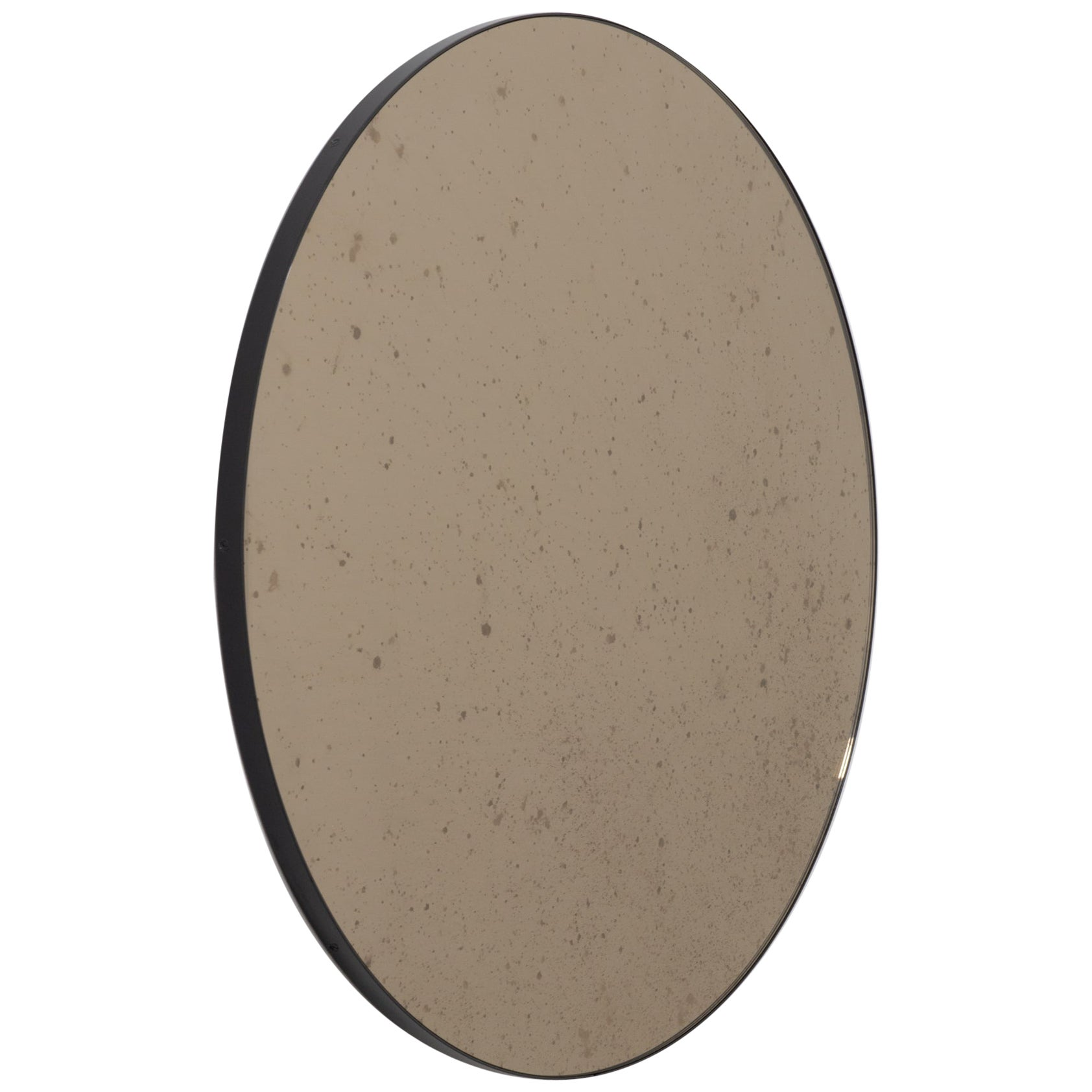 Orbis Antiqued Bronze Tinted Modern Round Mirror with a Black Frame, Small
