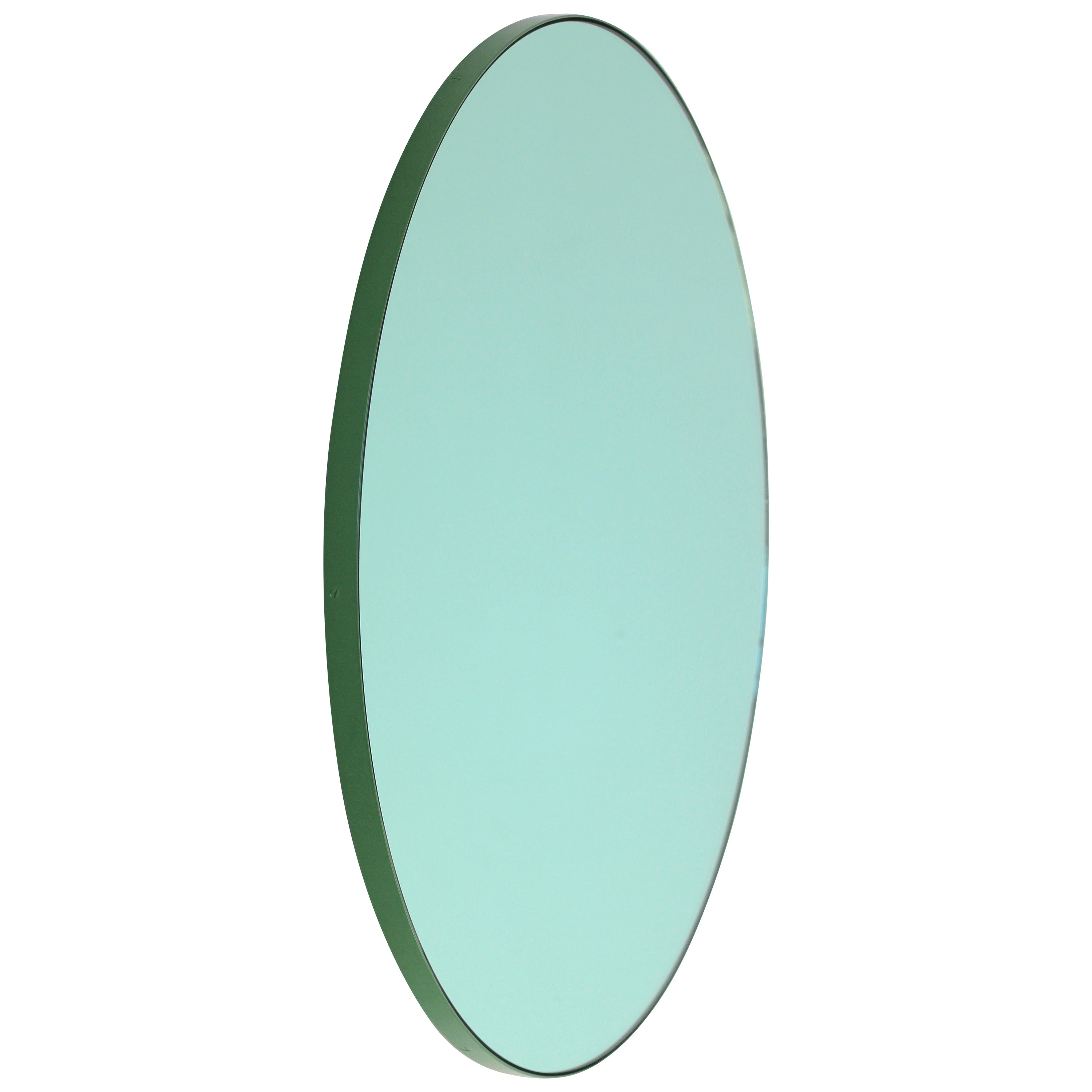 Orbis Green Tinted Modern Round Mirror with Green Frame, Small