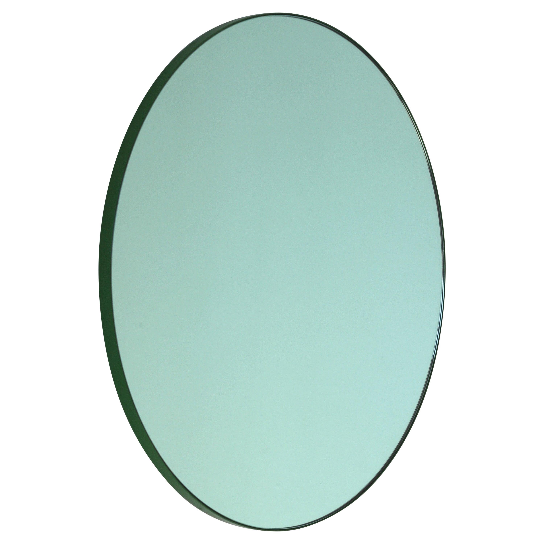 Orbis™ Green Tinted Modern Round Mirror with Green Frame - Medium
