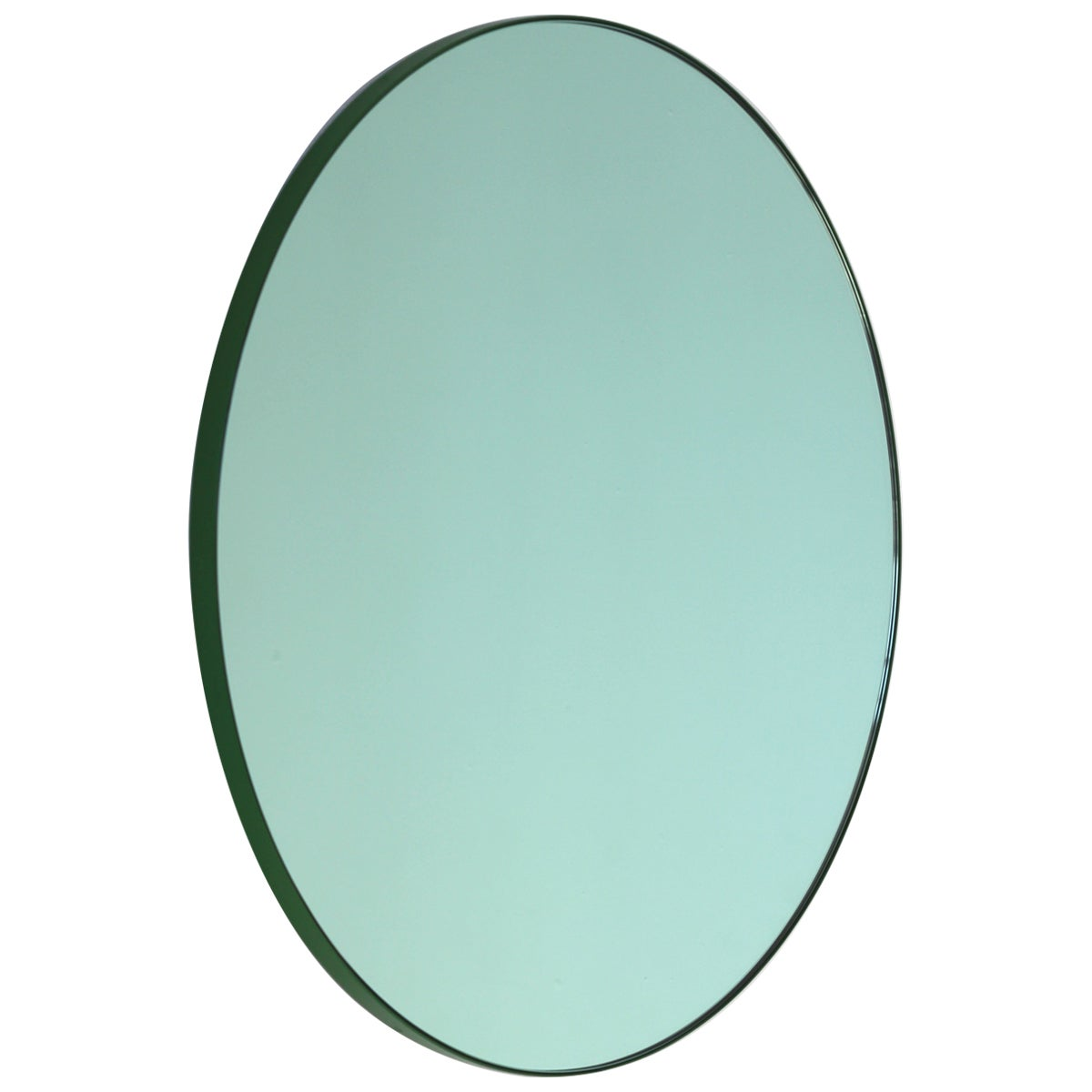 Orbis™ Green Tinted Modern Round Mirror with Green Frame - Large